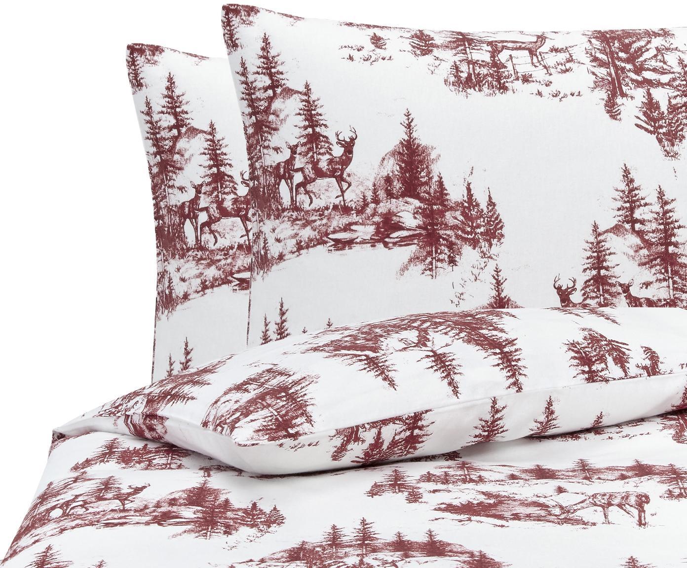 Flanell-Bettwäsche Nordic mit winterlichem Motiv, Webart: Flanell Flanell ist ein s, Rot, Weiß, 200 x 200 cm + 2 Kissen 80 x 80 cm
