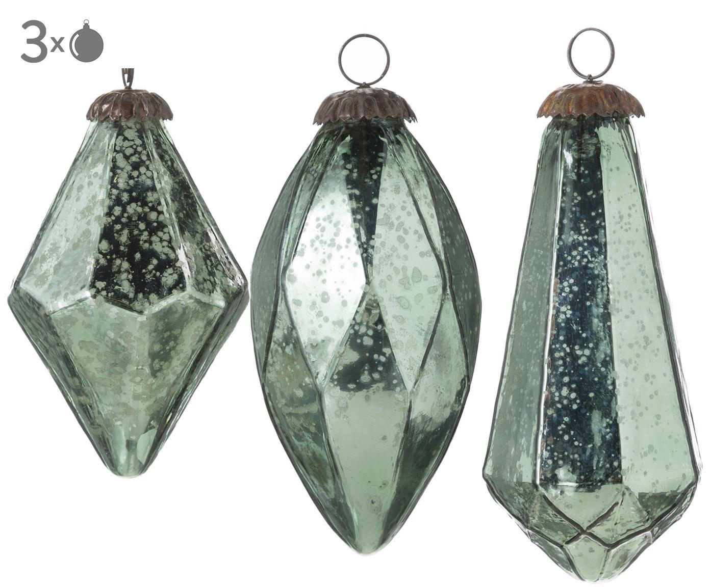 Baumanhänger-Set Klea, 3-tlg., Glas, Dunkelgrün, Antik-Finish, Ø 8 x H 15 cm