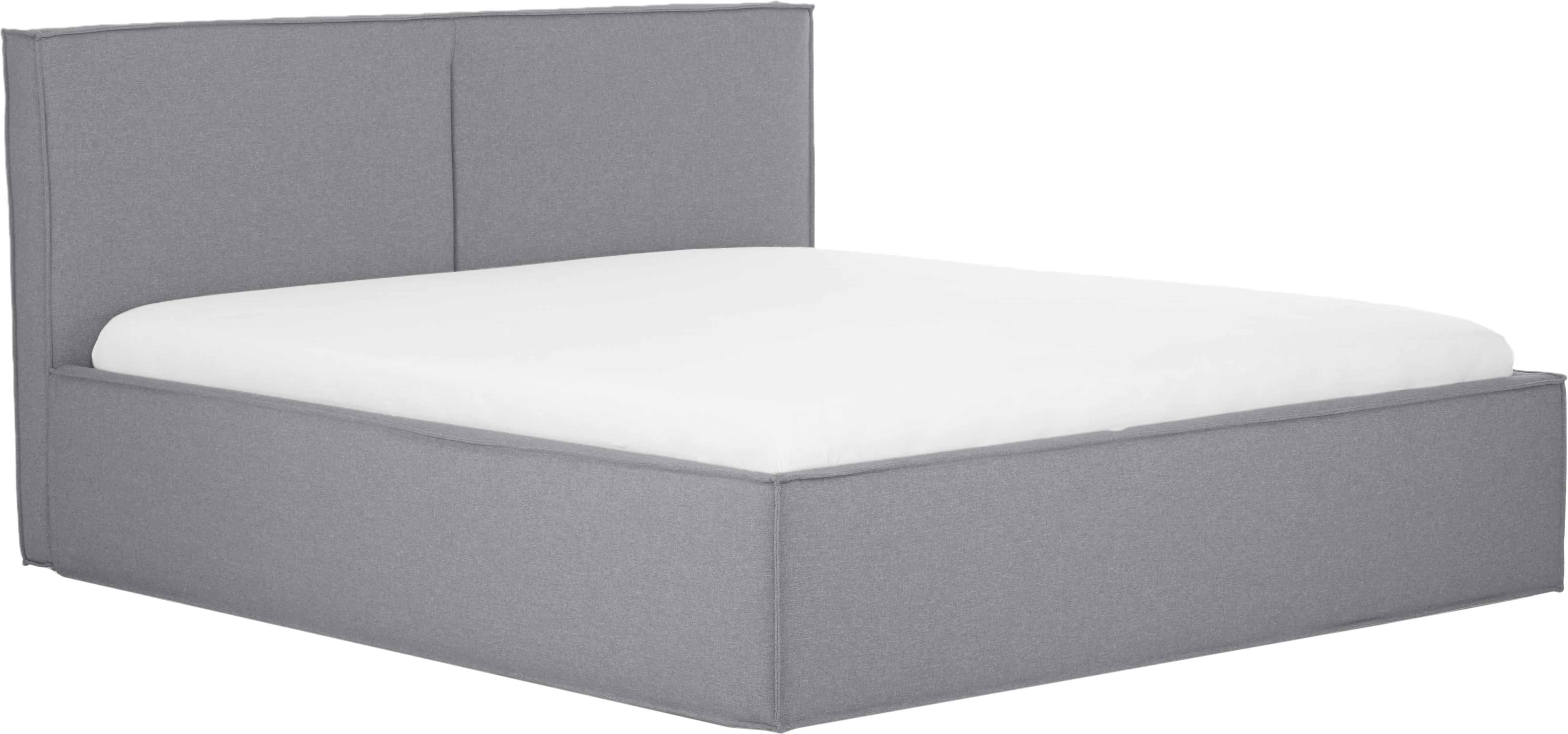 Łóżko tapicerowane Dream, Korpus: lite drewno sosnowe, Tapicerka: poliester (materiał tekst, Szary, 180 x 200 cm