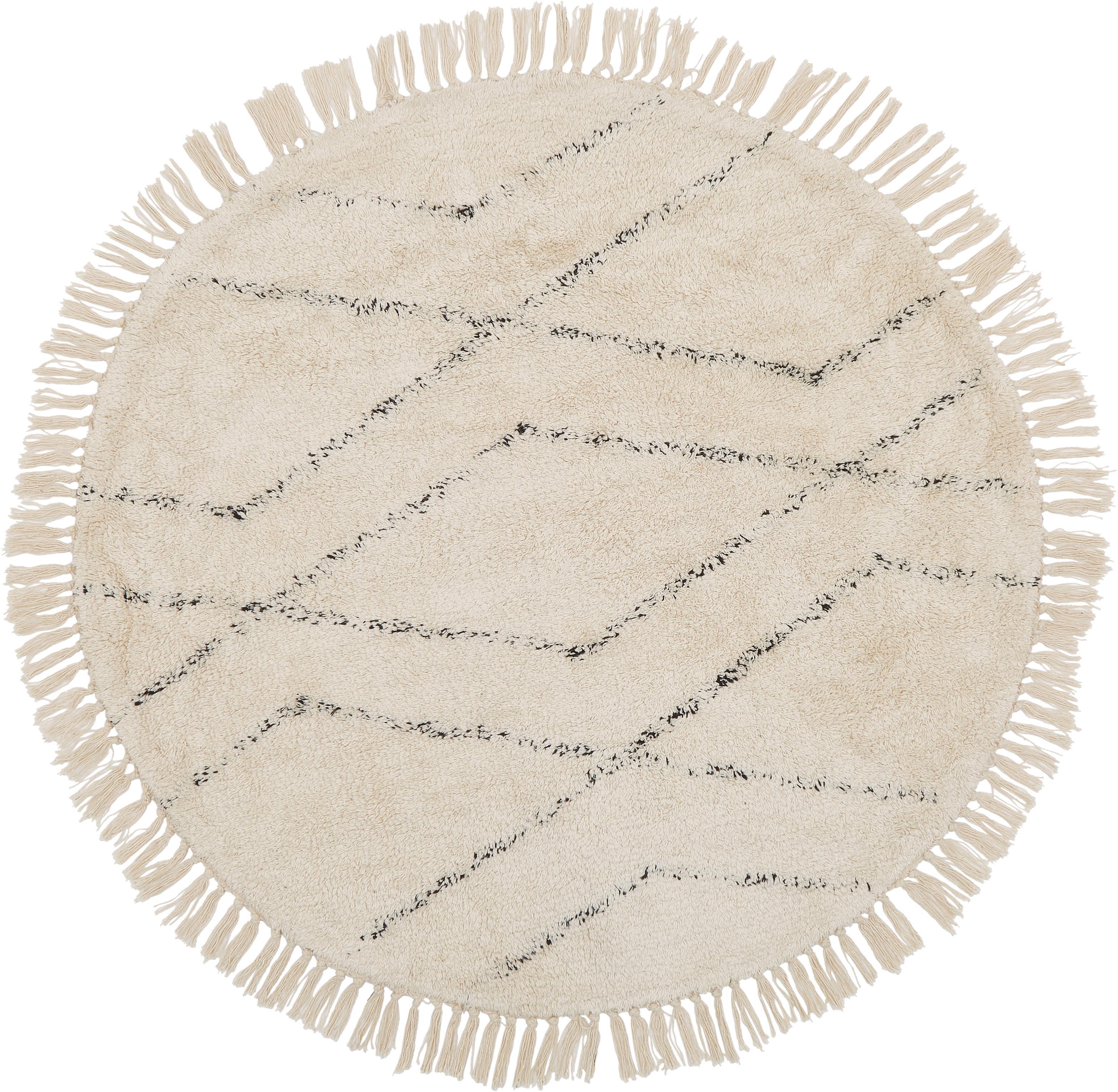 Alfombra redonda artesanal de algodón Bina, Beige, negro, Ø 110 cm (Tamaño S)