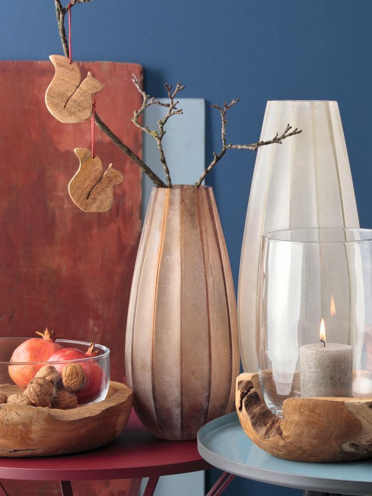 Handgefertigte Glasvase Ferrara, Glas, Braun, Ø 16 x H 35 cm