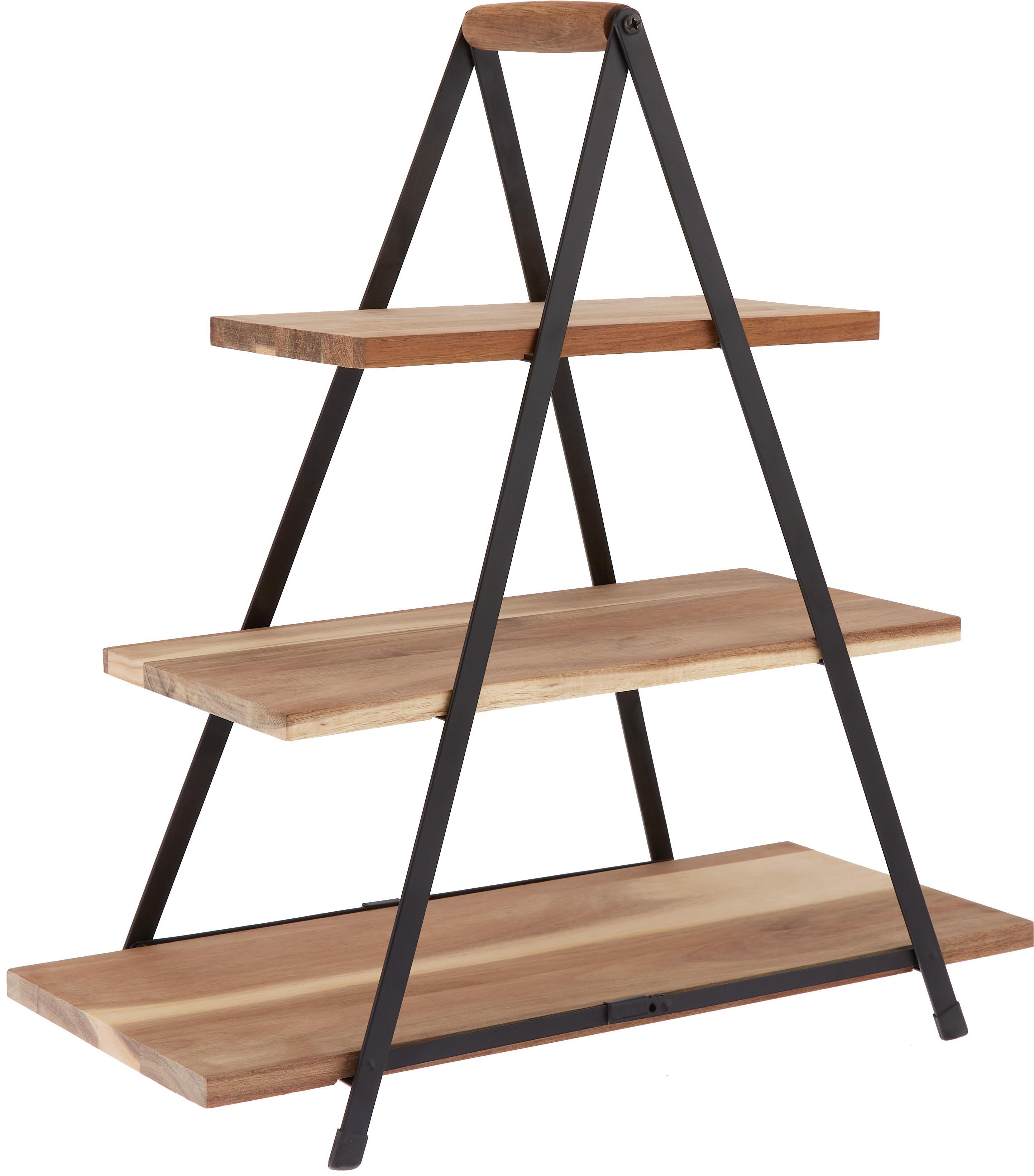 Fuente 3 pisos Serve, Estantes: madera de acacia, Patas: metal pintado, Marrón, An 30 x Al 55 cm