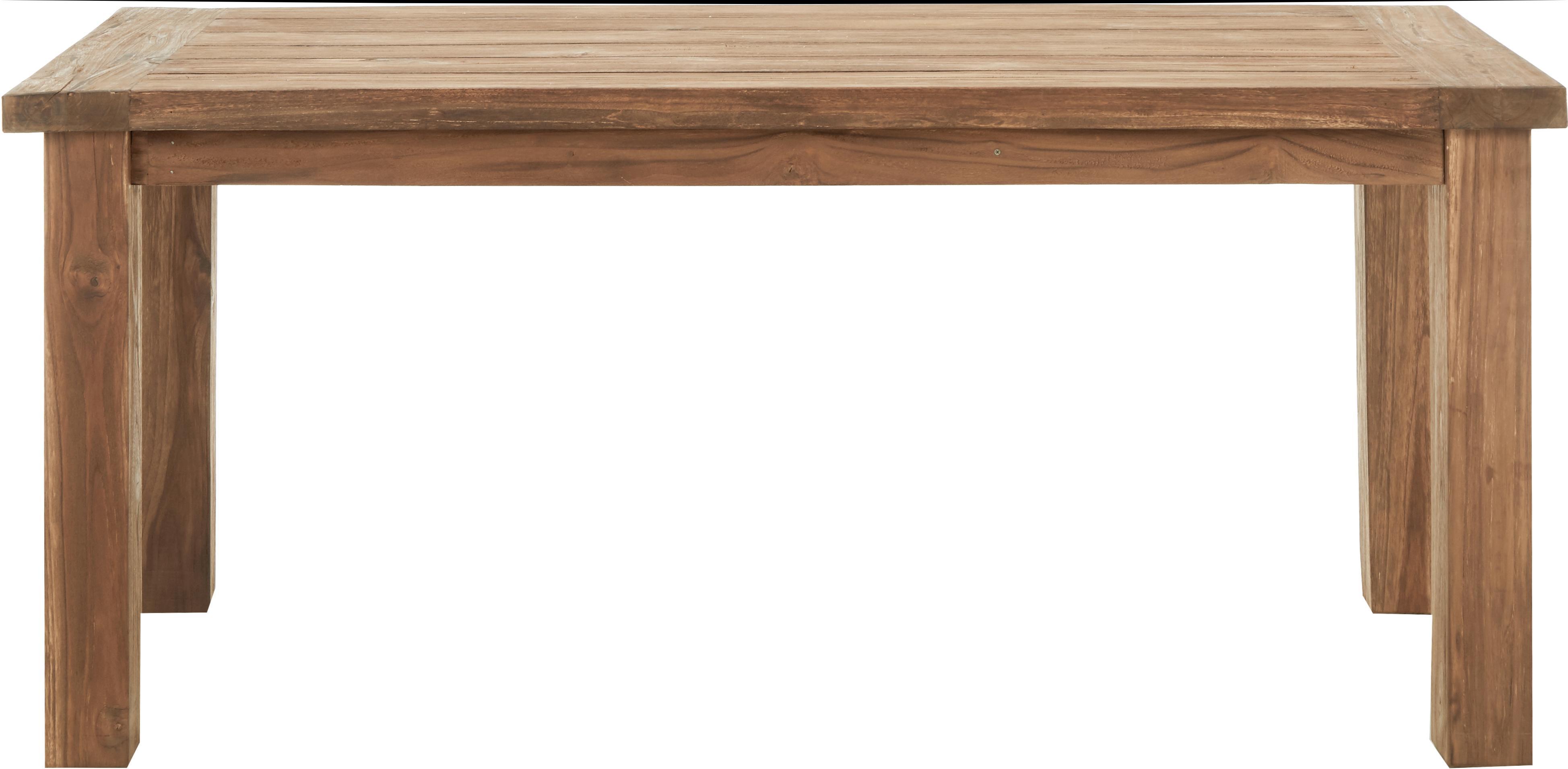 Eettafel Bois, Onbehandeld massief teakhout, Teakkleurig, B 180 x D 90 cm