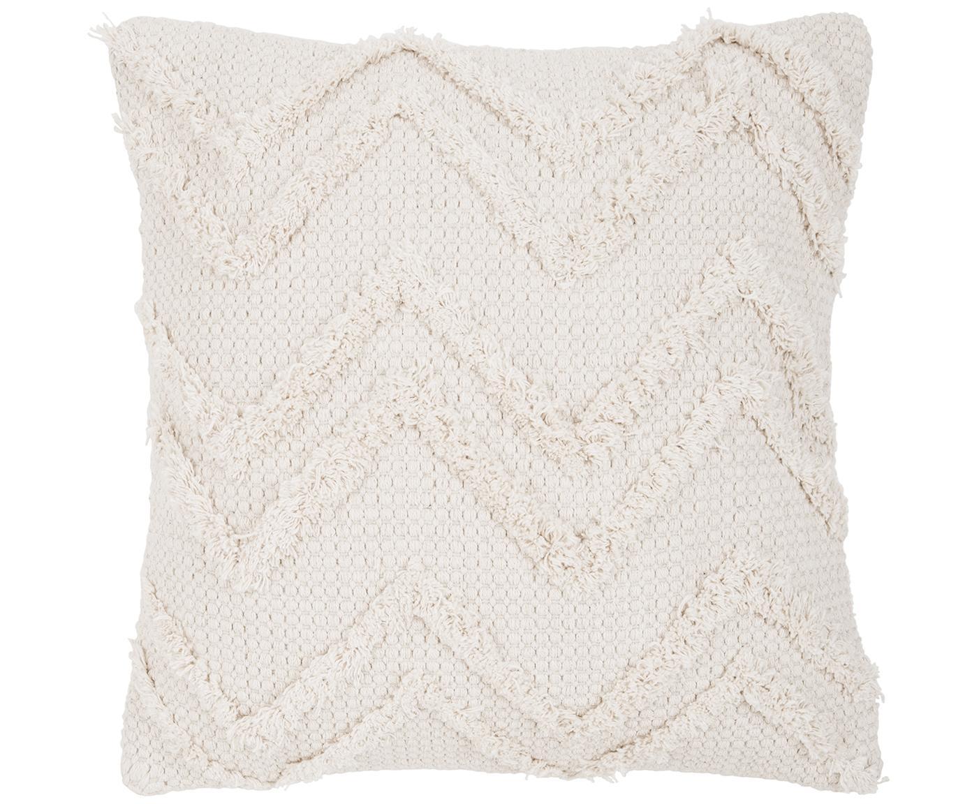 Kussenhoes Akesha met zigzag patroon, 100% katoen, Ecru, 45 x 45 cm