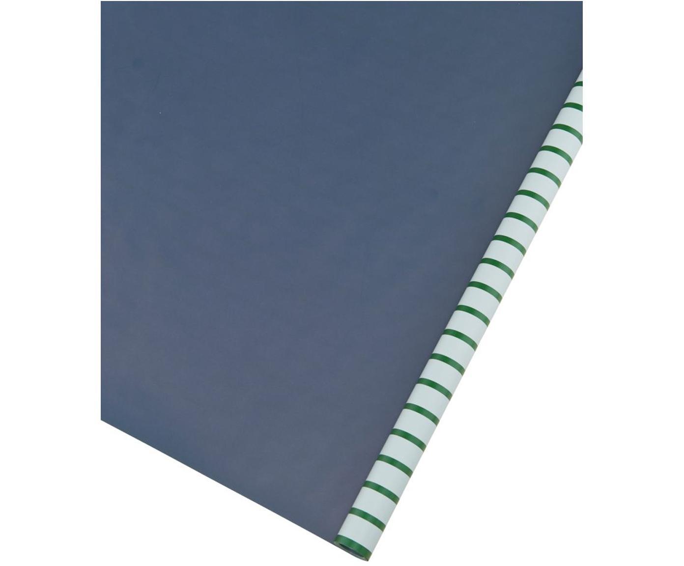 Geschenkpapier-Rolle Stripey, Papier, Grün, Hellblau, Dunkelblau, 50 x 70 cm