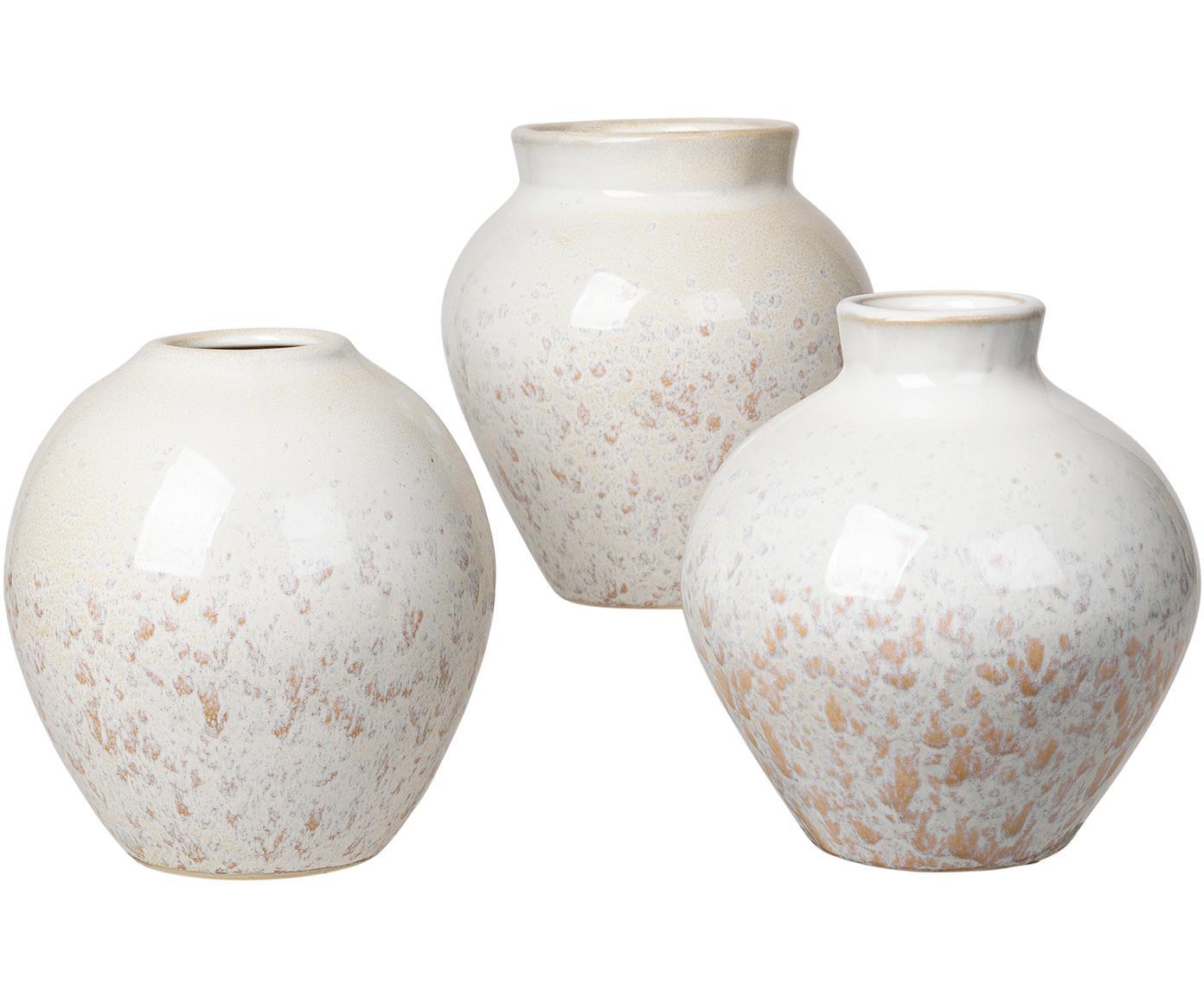 Set 3 vasi in ceramica Ingrid, Ceramica, Bianco, tonalità beige, Ø 14 x Alt. 14 cm