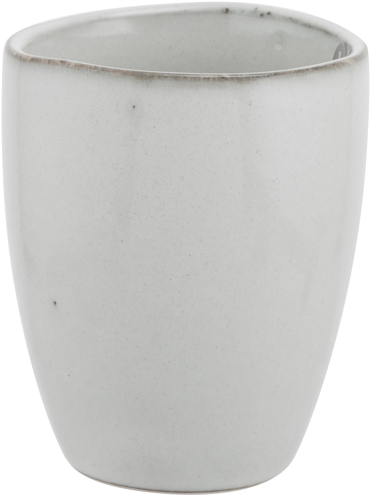 Tazas artesanales Nordic Sand, 6uds., Gres, Arena, Ø 8 x Al 10 cm