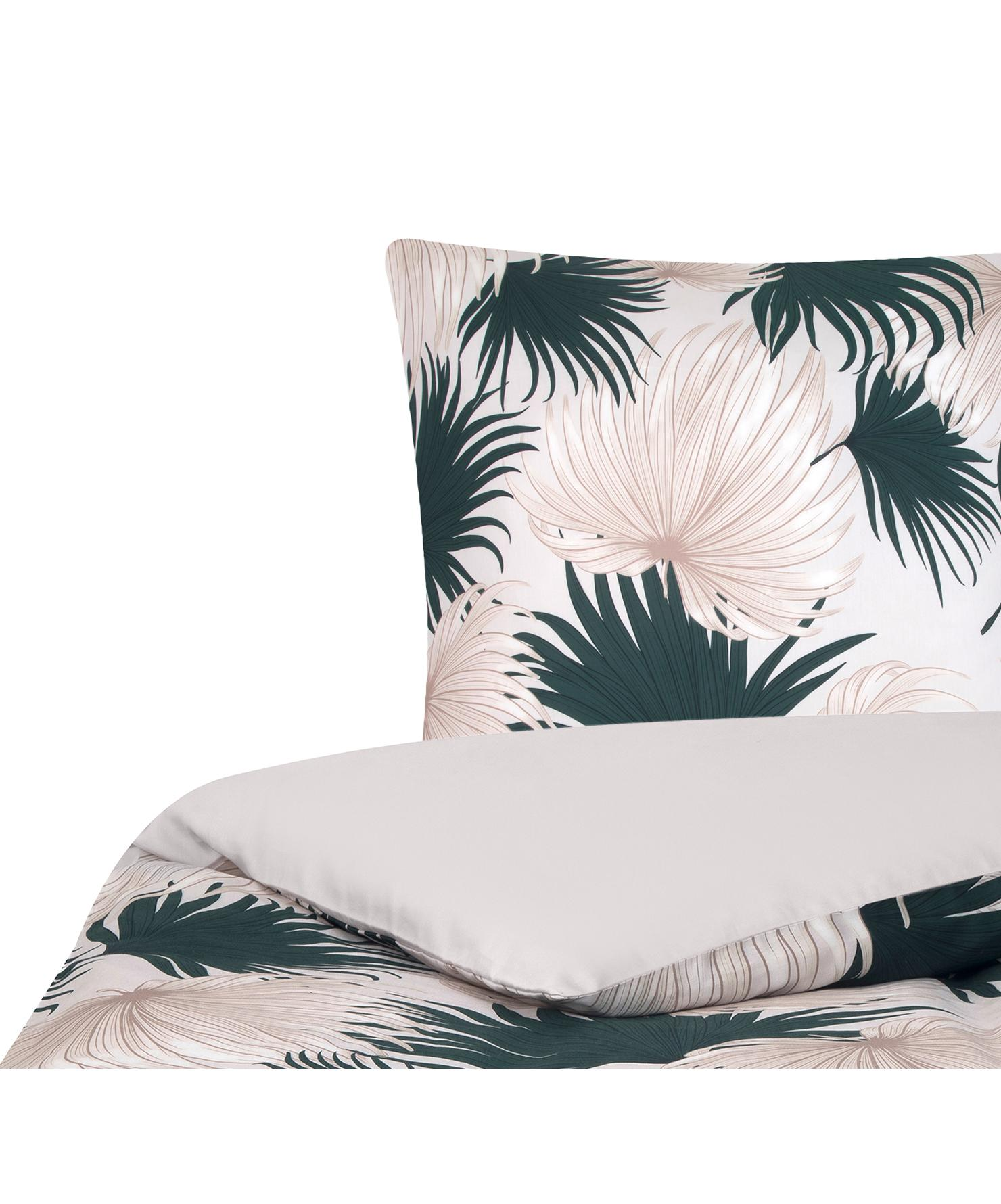 Baumwollsatin-Bettwäsche Aloha mit Palmenblättern, Webart: Satin Fadendichte 210 TC,, Vorderseite: Beige, GrünRückseite: Beige, 135 x 200 cm + 1 Kissen 80 x 80 cm
