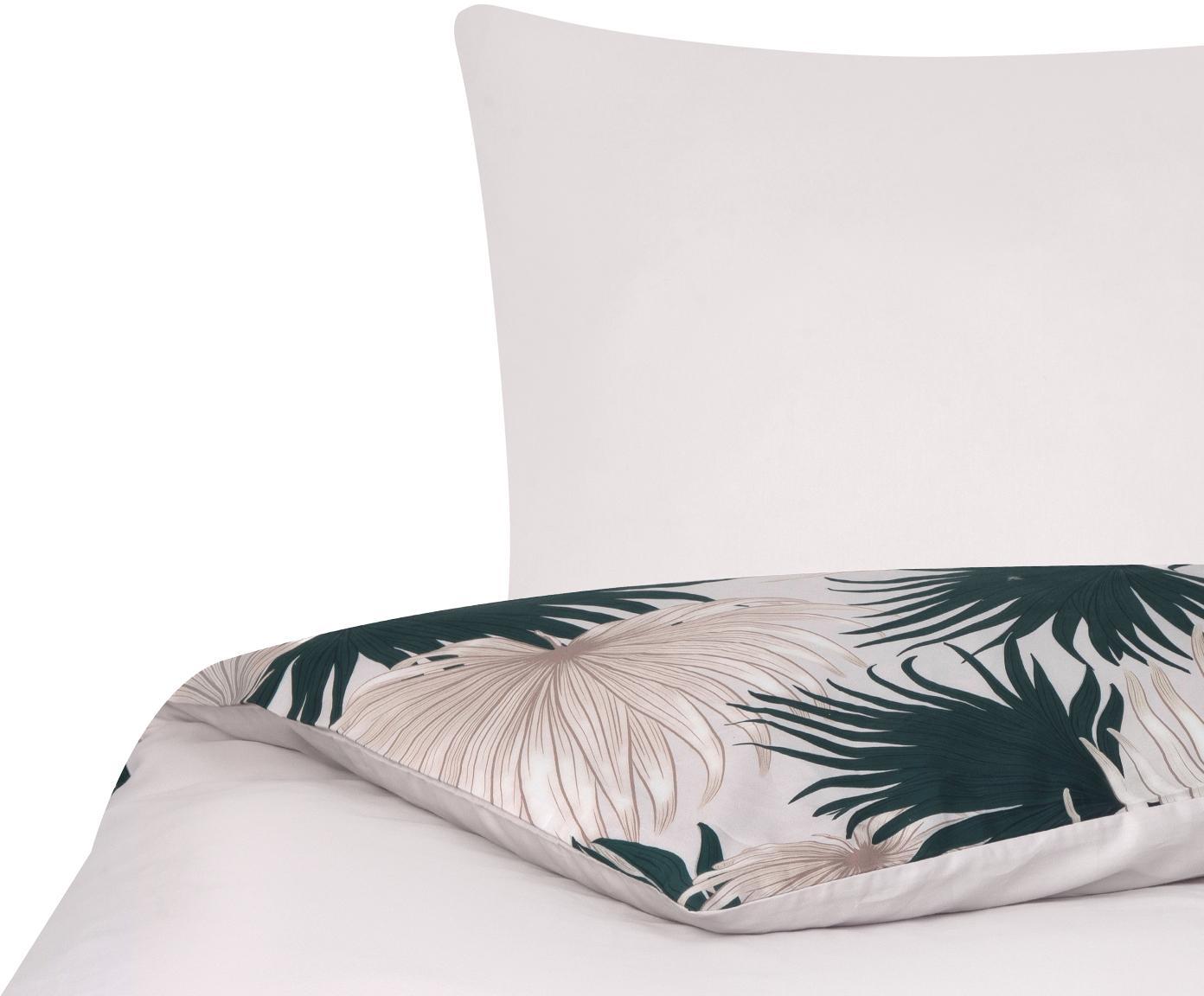 Pościel z satyny bawełnianej Aloha, Przód: beżowy, zielony Tył: beżowy, 135 x 200 cm