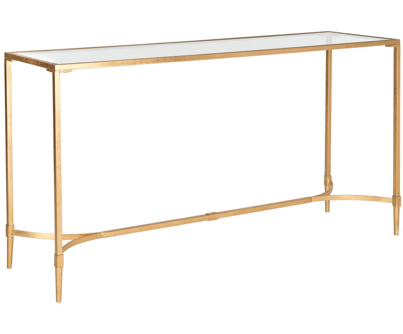 Sidetable Abigail, Frame: gelakt ijzer, Tafelblad: glas, Goudkleurig, transparant, 160 x 81 cm