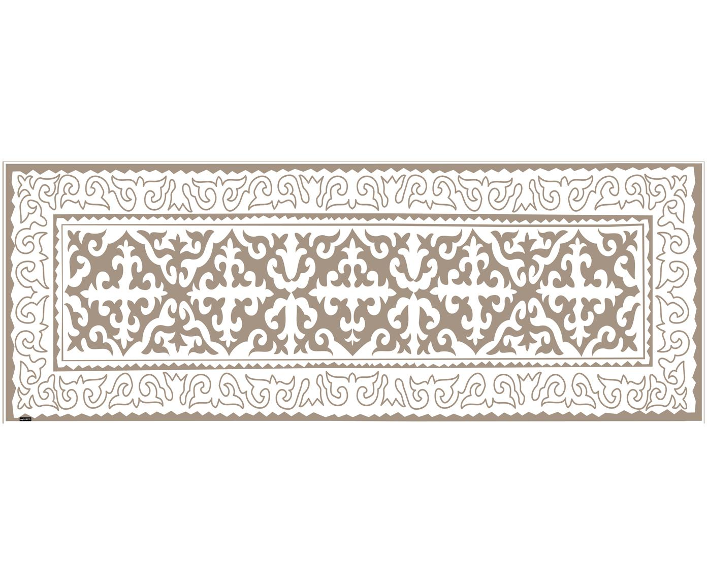 Tappetino in vinile Aksana, Vinile riciclabile, Taupe, bianco, Larg. 68 x Lung. 180 cm