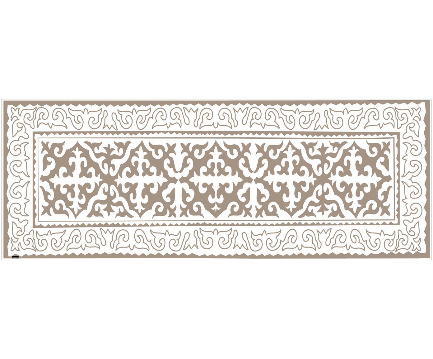 Vinyl-Bodenmatte Aksana, Vinyl, recycelbar, Taupe, Weiß, 70 x 180 cm