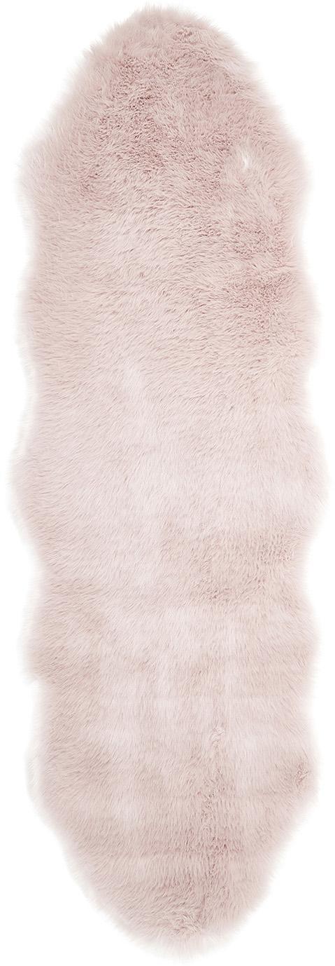 Alfombra de piel sintética Mathilde, lisa, Parte superior: 65% acrílico, 35% poliést, Parte trasera: 100%poliéster, Rosa, An 60 x L 180 cm