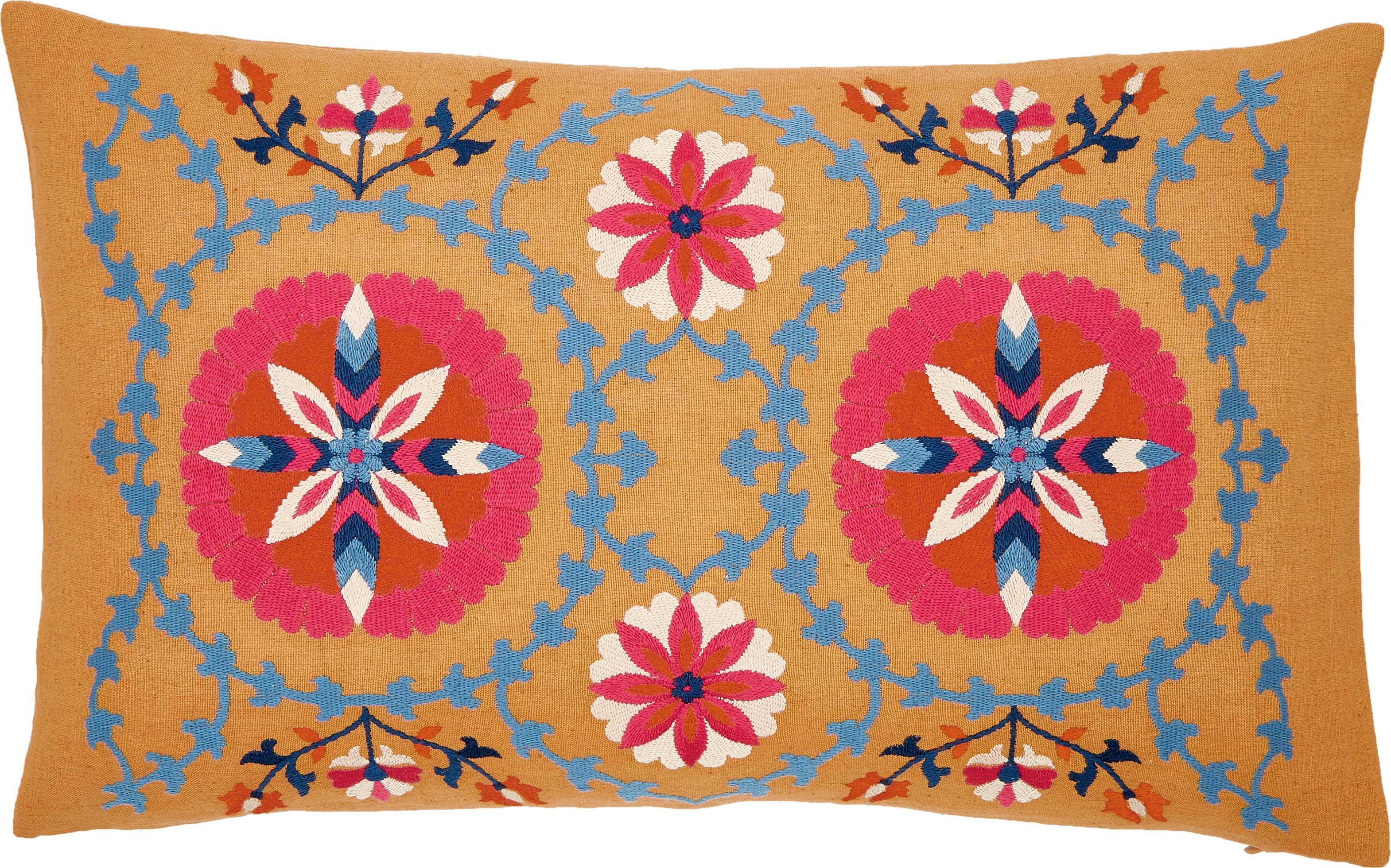 Federa arredo ricamata Tabula, Cotone, Giallo, multicolore, Larg. 30 x Lung. 50 cm