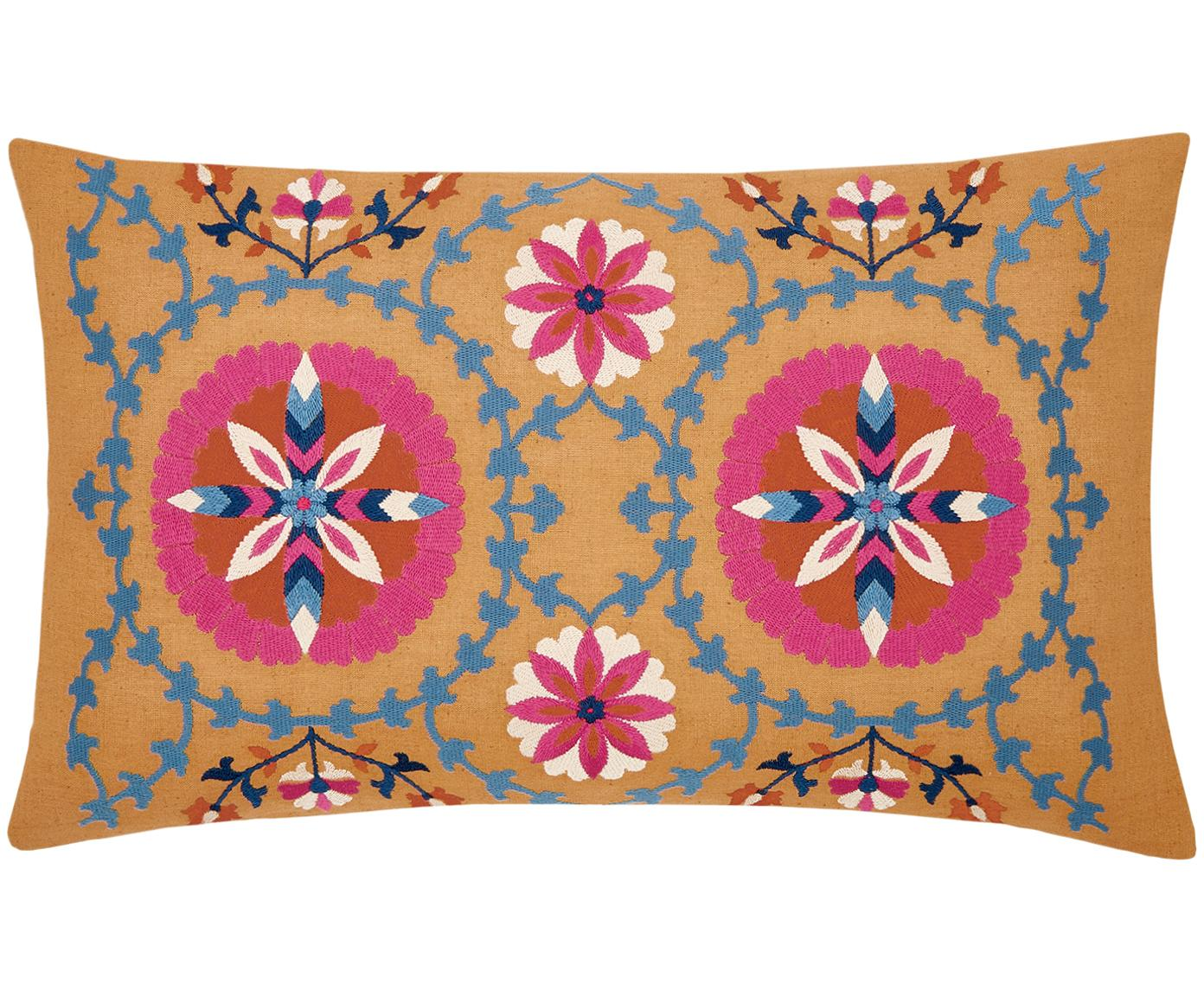 Funda de cojín bordada Tabula, Algodón, Amarillo, multicolor, An 30 x L 50 cm