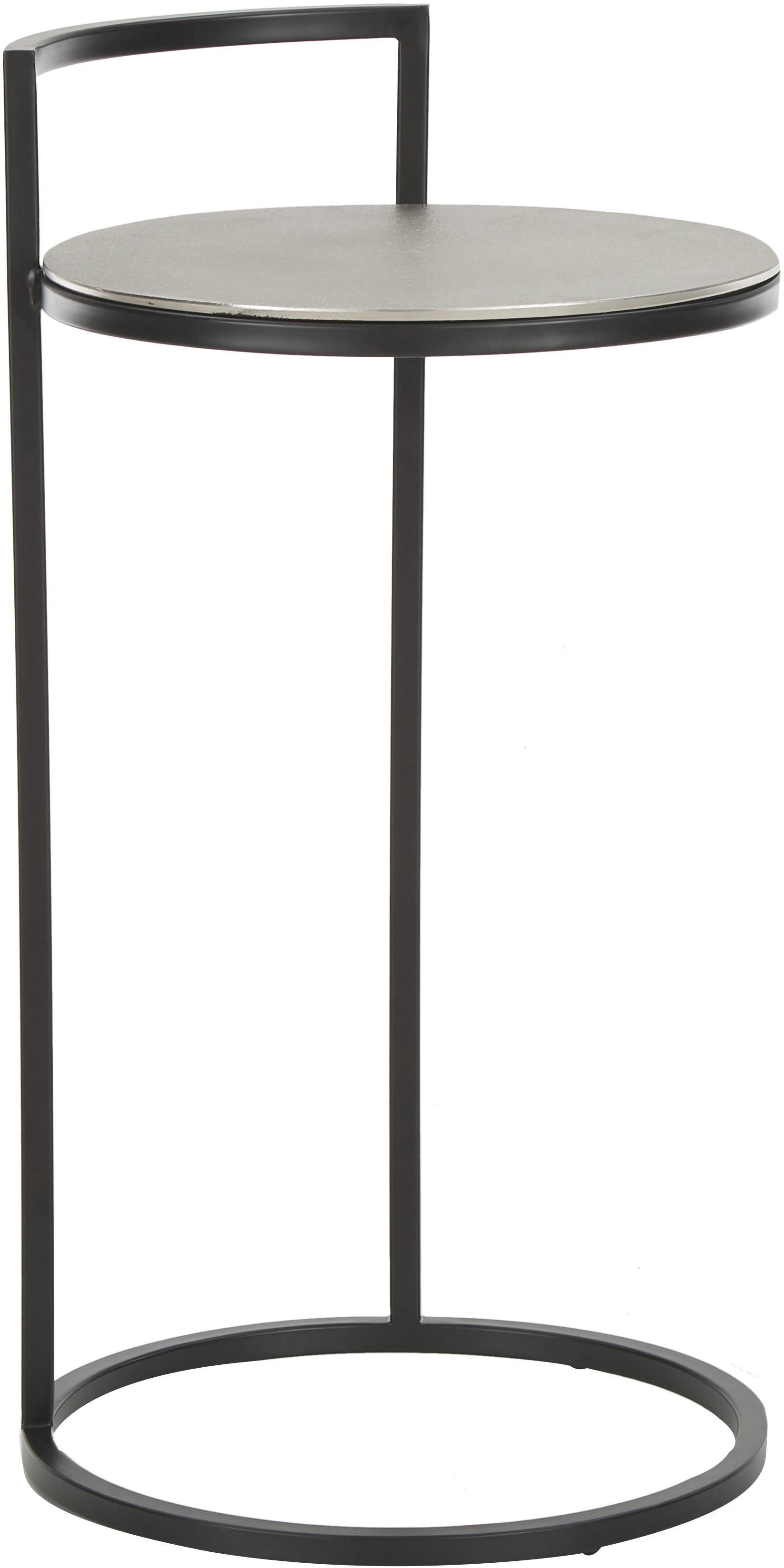 Tavolino rotondo in metallo Circle, Piano d'appoggio: alluminio rivestito, Gambe: metallo verniciato, Argento, nero, Ø 36 x Alt. 66 cm