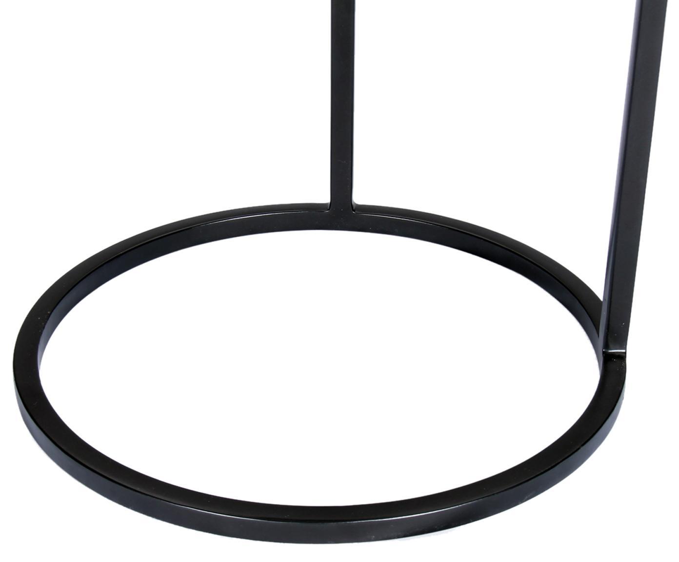 Runder Beistelltisch Circle aus Metall, Tischplatte: Metall, beschichtet, Gestell: Metall, pulverbeschichtet, Silber, Schwarz, Ø 36 x H 66 cm