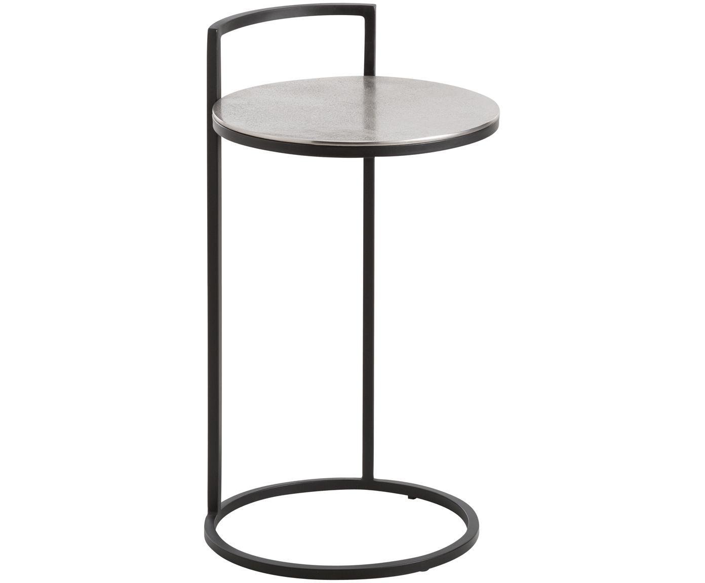 Mesa auxiliar redonda de metal Circle, Tablero: aluminio, recubierto, Estructura: metal pintado, Plata, negro, Ø 36 x Alto 66 cm