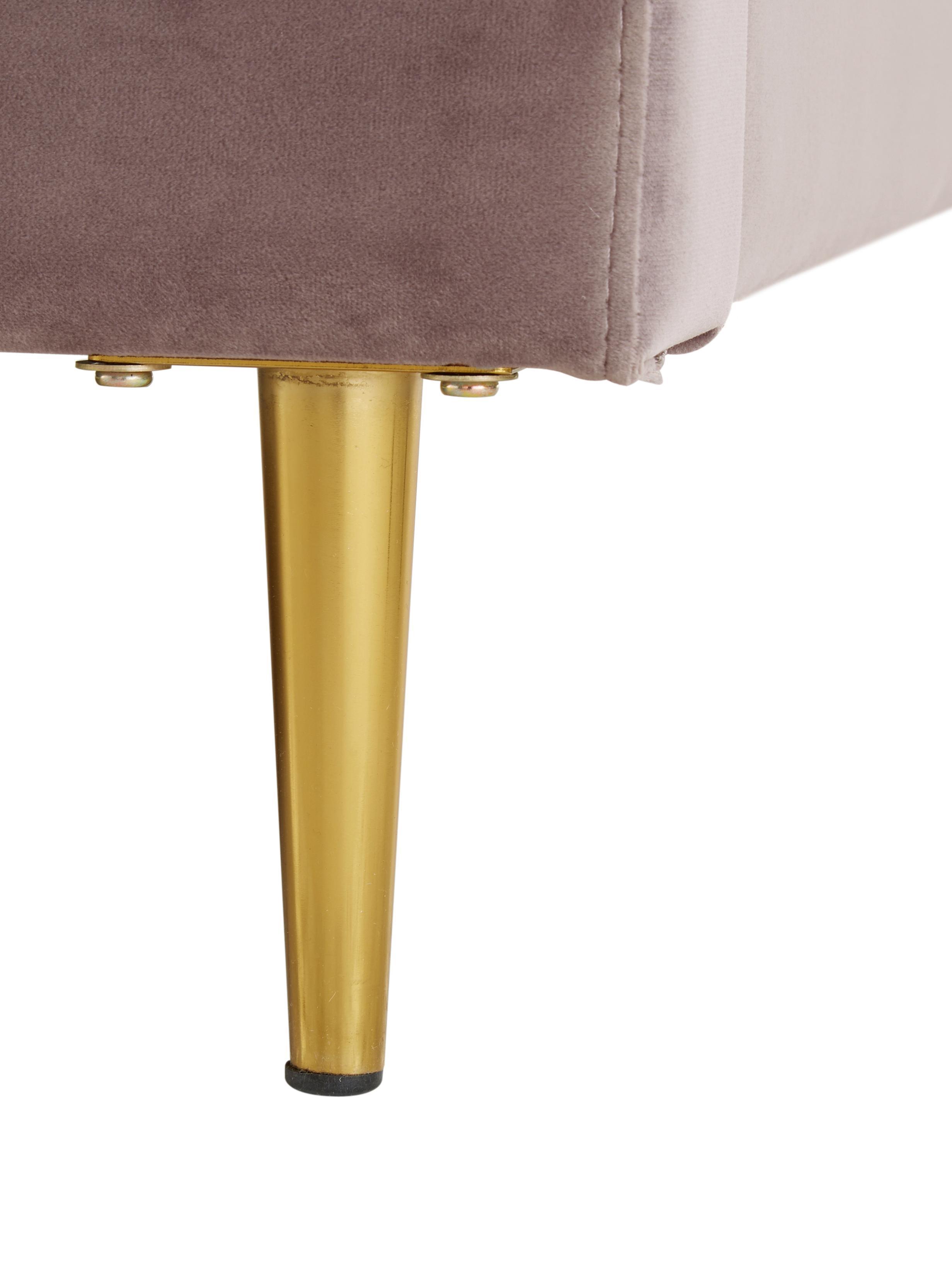 Letto matrimoniale imbottito in velluto Glamour, Piedini: metallo ottonato, Rivestimento: velluto (poliestere) 100., Rivestimento: rosa cipria Piedini: dorato lucido, 160 x 200 cm