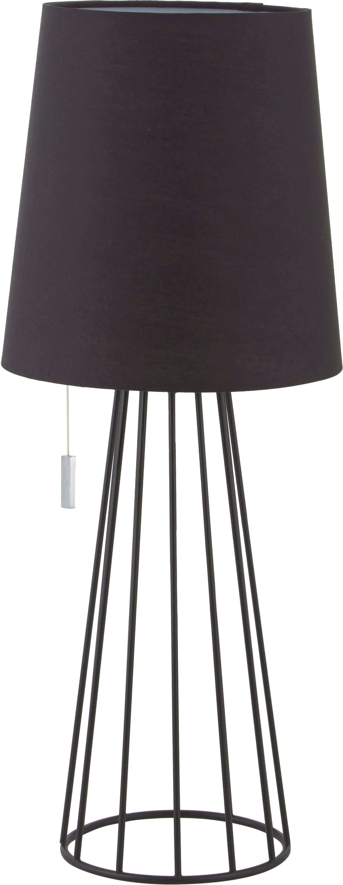 Große Tischleuchte Mailand, Lampenfuß: Metall, vermessingt und l, Schwarz, Ø 23 x H 59 cm