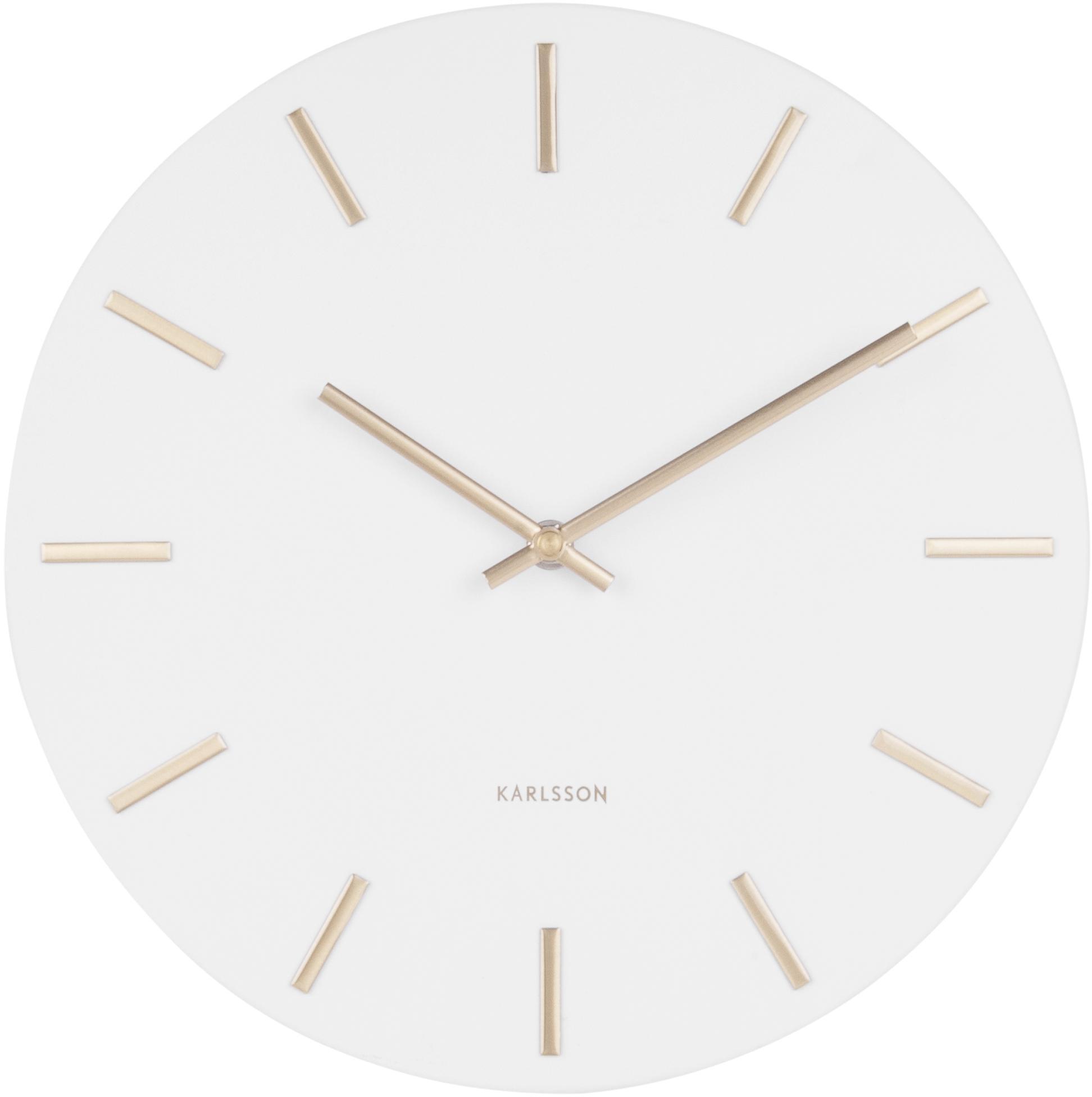 Zegar ścienny Charm, Stal lakierowana, Biały, Ø 30 x G 4 cm
