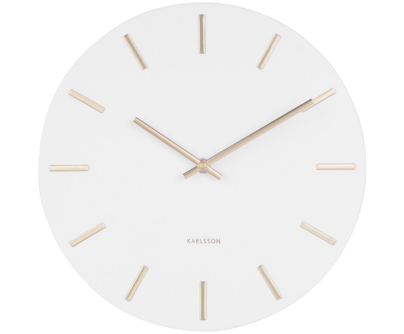 Reloj de pared Charm, Acero, pintado, Blanco, Ø 30 x F 4 cm
