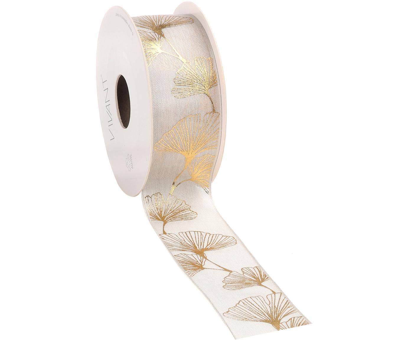 Geschenkband Gingko, 60% Rayon, 35% Polyester, 5% Draht, Weiß, Goldfarben, 4 x 1000 cm