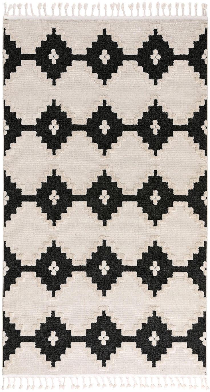 Vloerkleed Oyo Square, Bovenzijde: polyester, Onderzijde: katoen, Crèmekleurig, antraciet, B 80 x L 150 cm (maat XS)