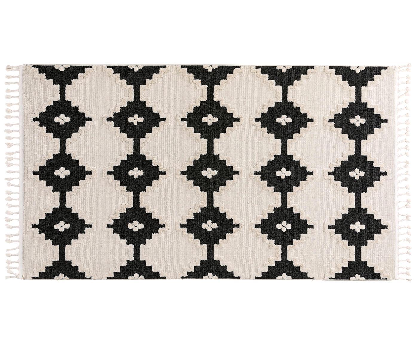 Alfombra Oyo Square, Parte superior: poliéster, Reverso: algodón, Crema, antracita, An 80 x L 150 cm