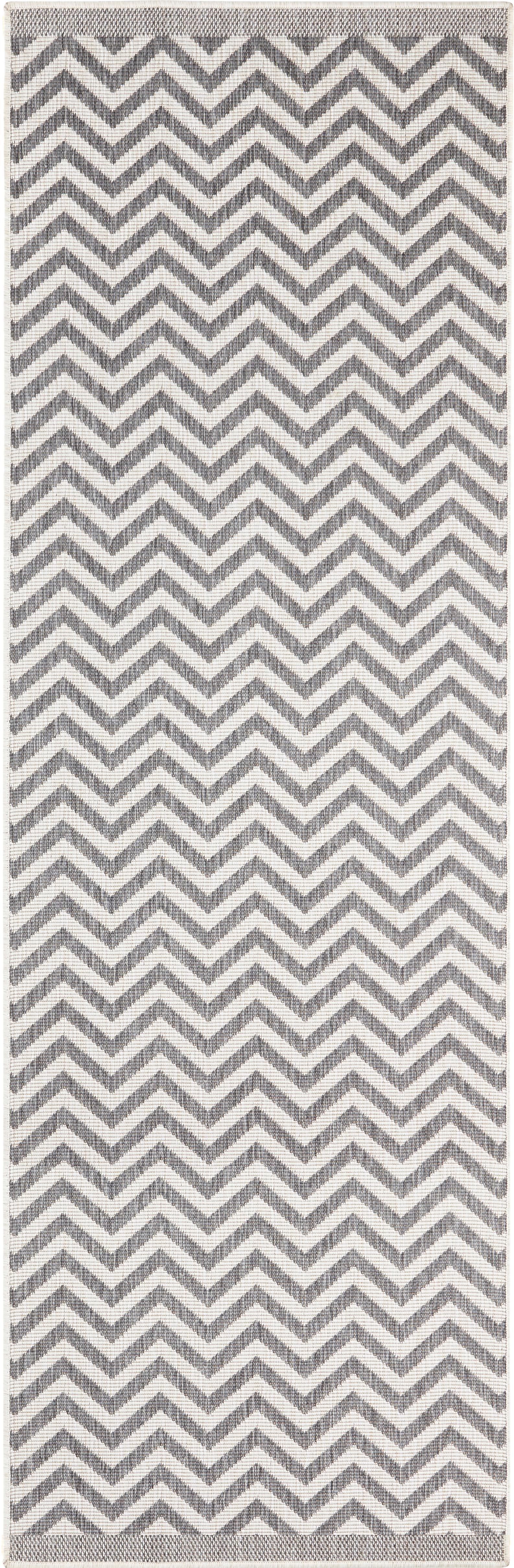 In- & Outdoor-Läufer Palma mit Zickzack-Muster, beidseitig verwendbar, Grau, Creme, 80 x 350 cm