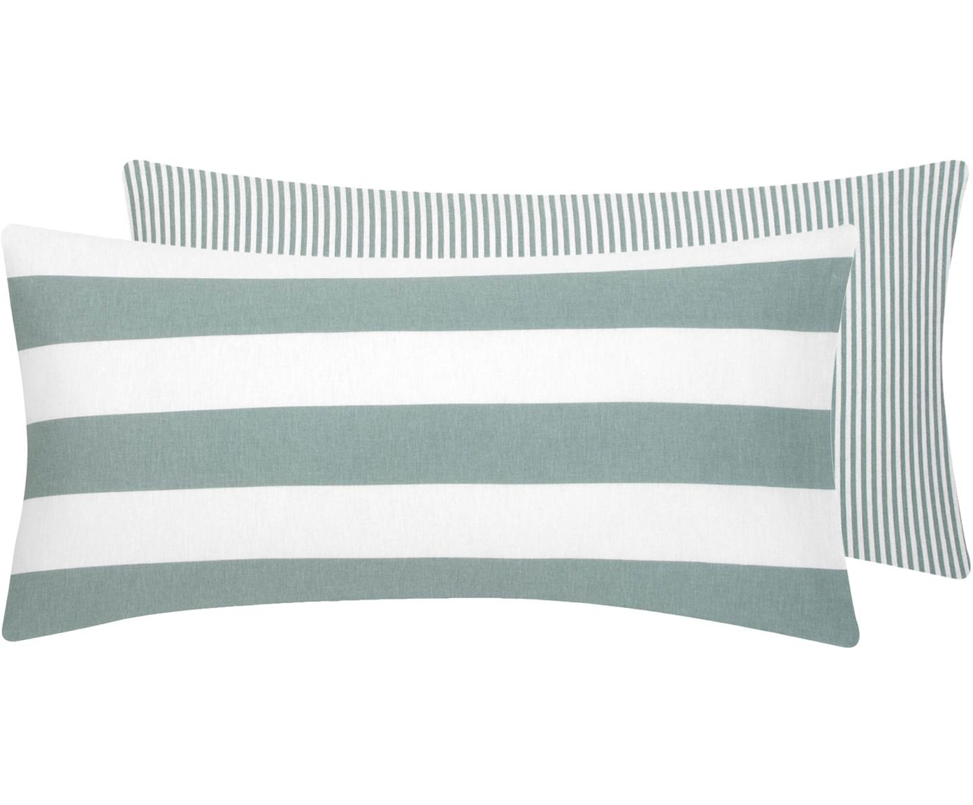 Flanell-Wendekissenbezüge Dora, gestreift, 2 Stück, Webart: Flanell Flanell ist ein s, Weiß, Salbeigrün, 40 x 80 cm