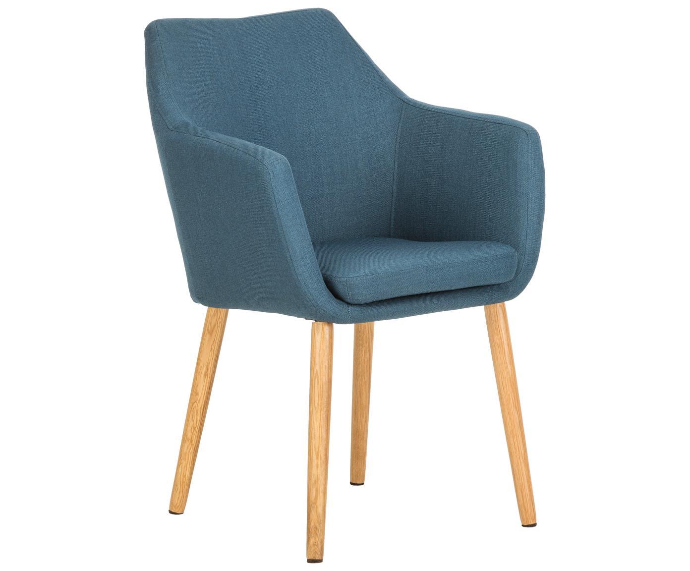 Sedia con braccioli  Nora, Rivestimento: 100% poliestere, Gambe: legno di quercia, Blu scuro, legno di quercia, Larg. 58 x Alt. 84 cm