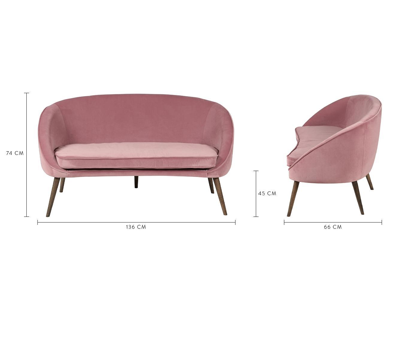 Samt-Sofa Safir (2-Sitzer), Bezug: Polyestersamt 50.000 Sche, Beine: Walnussbaumholz, gebeizt, Samt Himbeerfarben, B 136 x T 66 cm