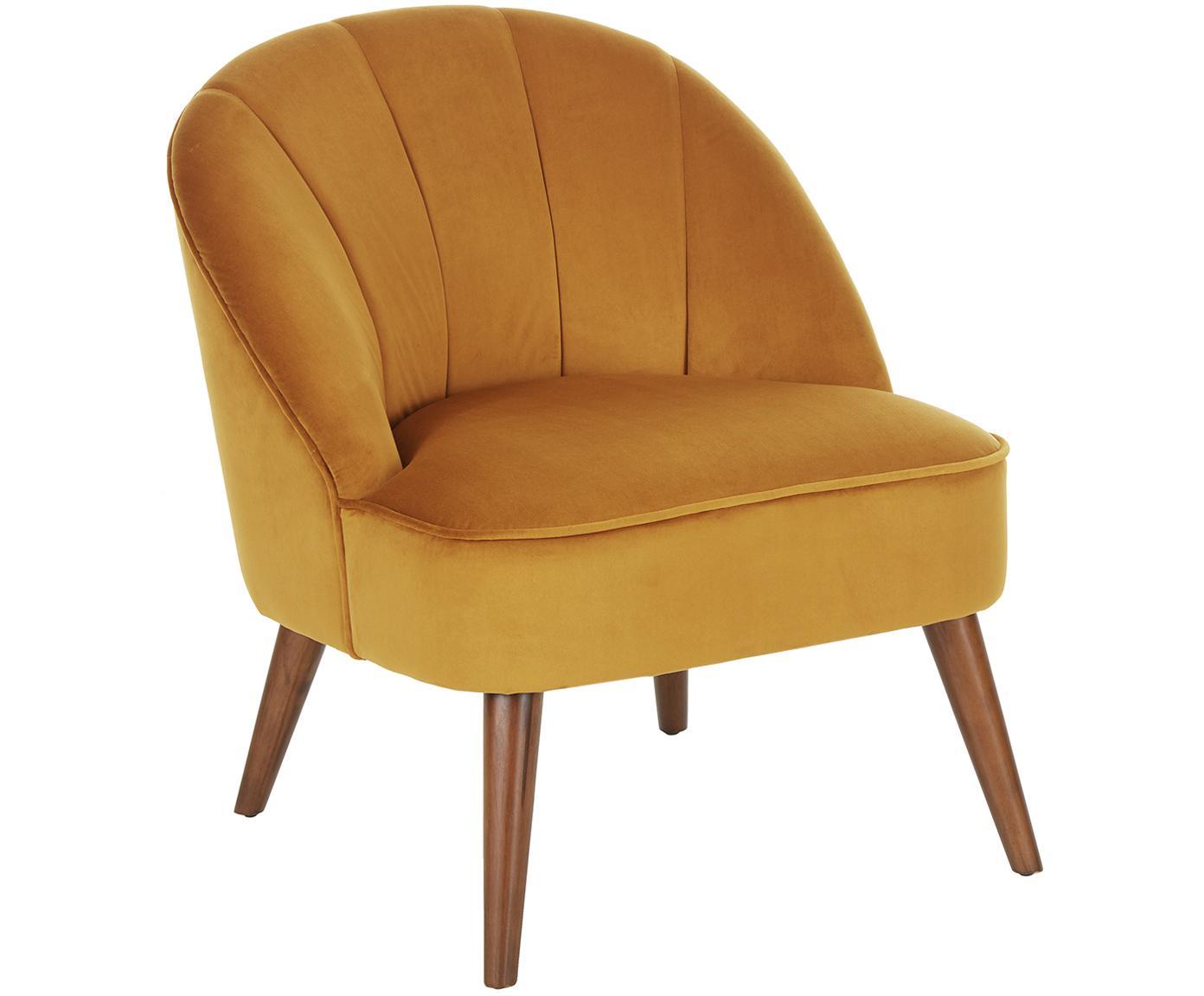 Fluwelen fauteuil Aya, Bekleding: fluweel (polyester), Poten: berkenhout, gelakt, Bekleding: amberkleurig. Poten: berkenhoutkleurig, B 73 x D 64 cm