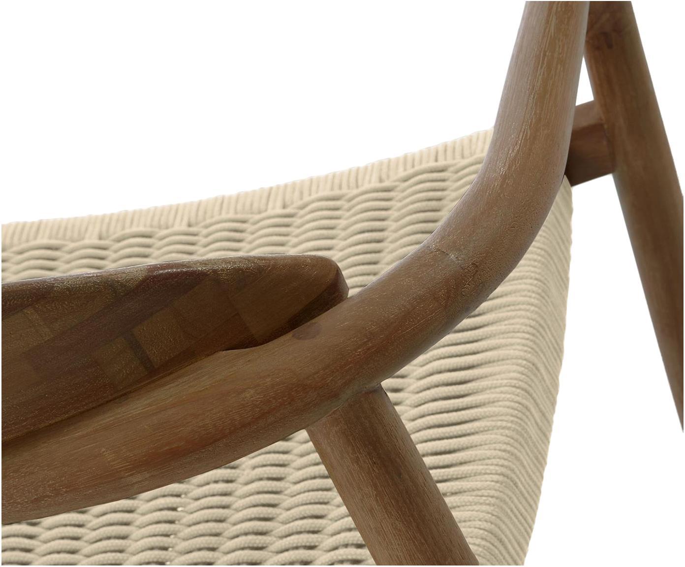 Armstoel Nina van massief hout, Frame: massief eucalyptushout, Zitvlak: polyester, UV-bestendig, Beige, bruin, B 56 x D 53 cm