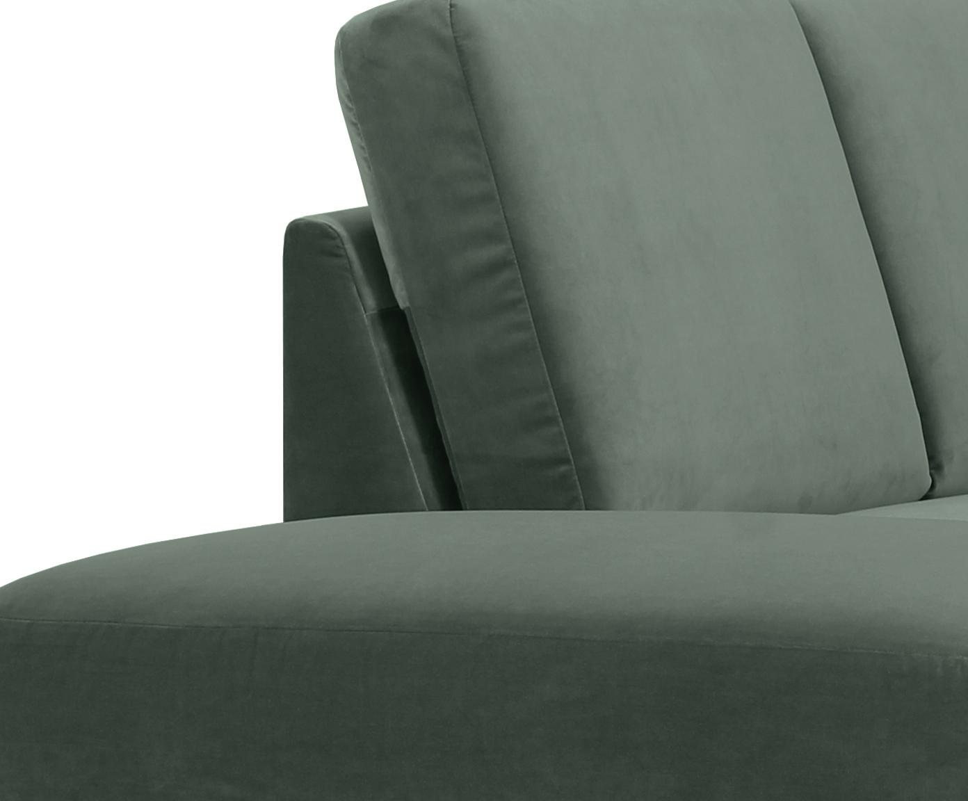 Samt-Ecksofa Fluente, Bezug: Samt (Hochwertiger Polyes, Gestell: Massives Kiefernholz, Füße: Metall, lackiert, Samt Grün, B 221 x T 200 cm