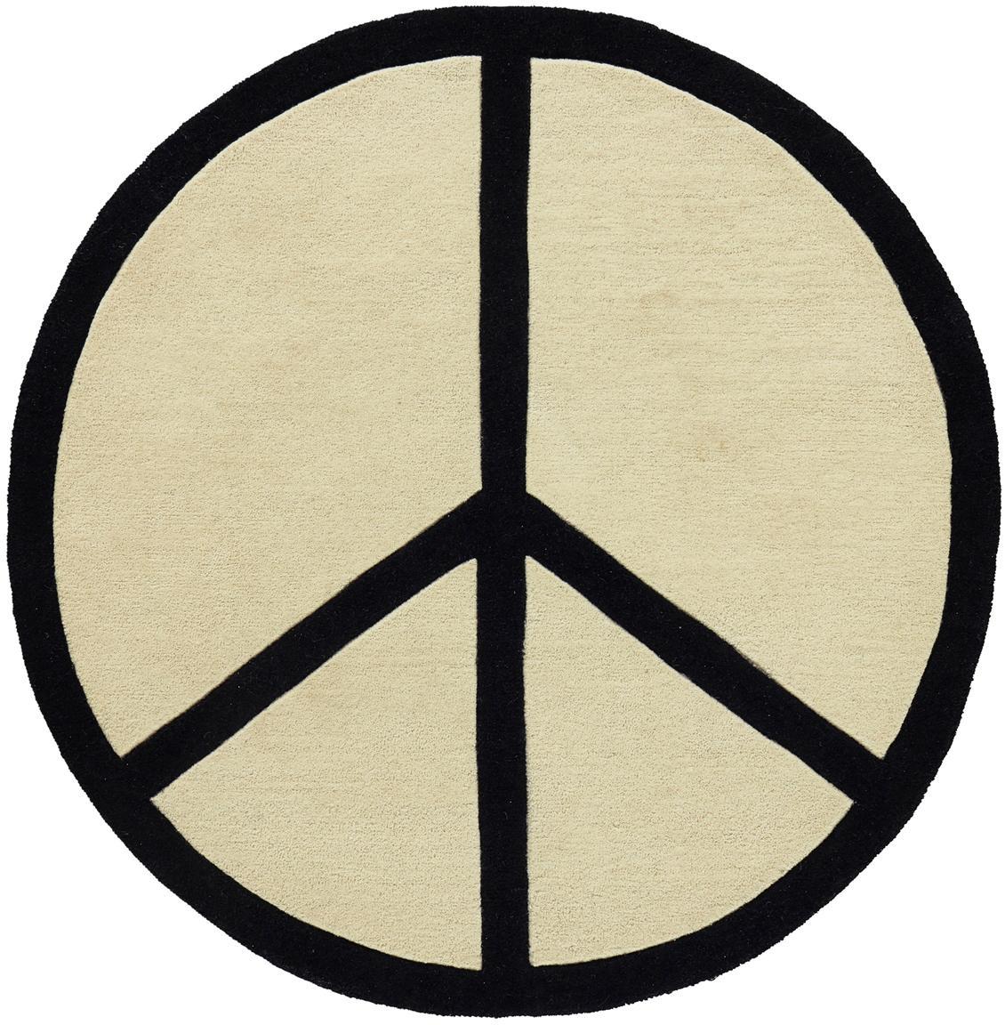 Runder handgetufteter Wollteppich Peace Out, 100% Wolle, Cremeweiß, Schwarz, Ø 120 cm (Größe S)