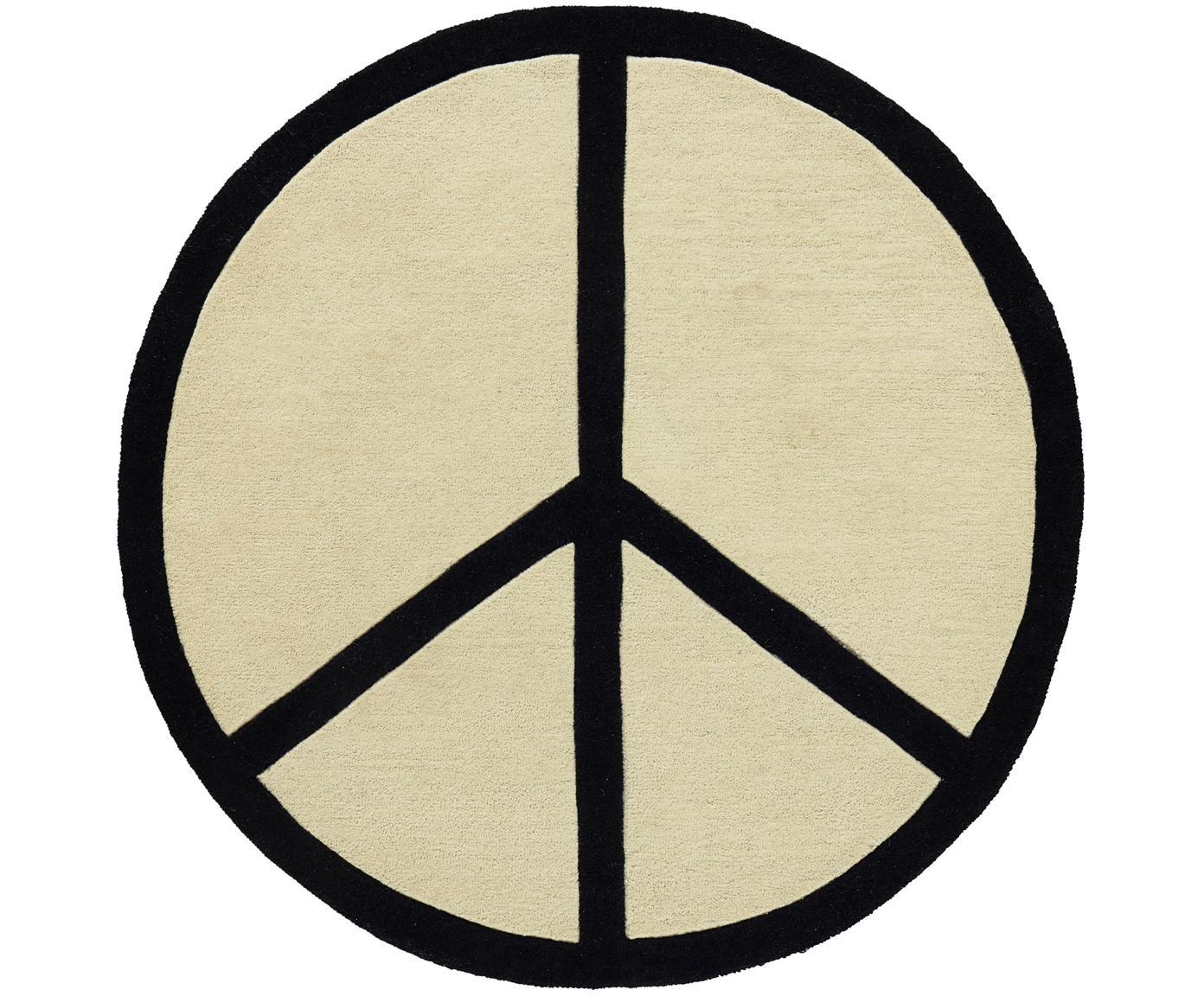 Rond handgetuft vloerkleed Peace Out, Wol, Crèmekleurig, zwart, Ø 120 cm