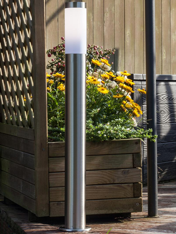 Buitenvloerlamp Chorus, Lampvoet: edelstaal, Diffuser: kunststof, Edelstaalkleurig, wit, Ø 8 x H 80 cm