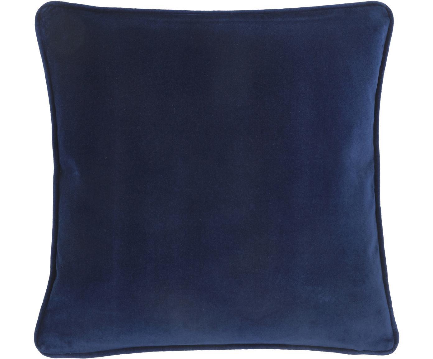 Funda de cojín de terciopelo Dana, Terciopelo de algodón, Azul marino, An 40 x L 40 cm