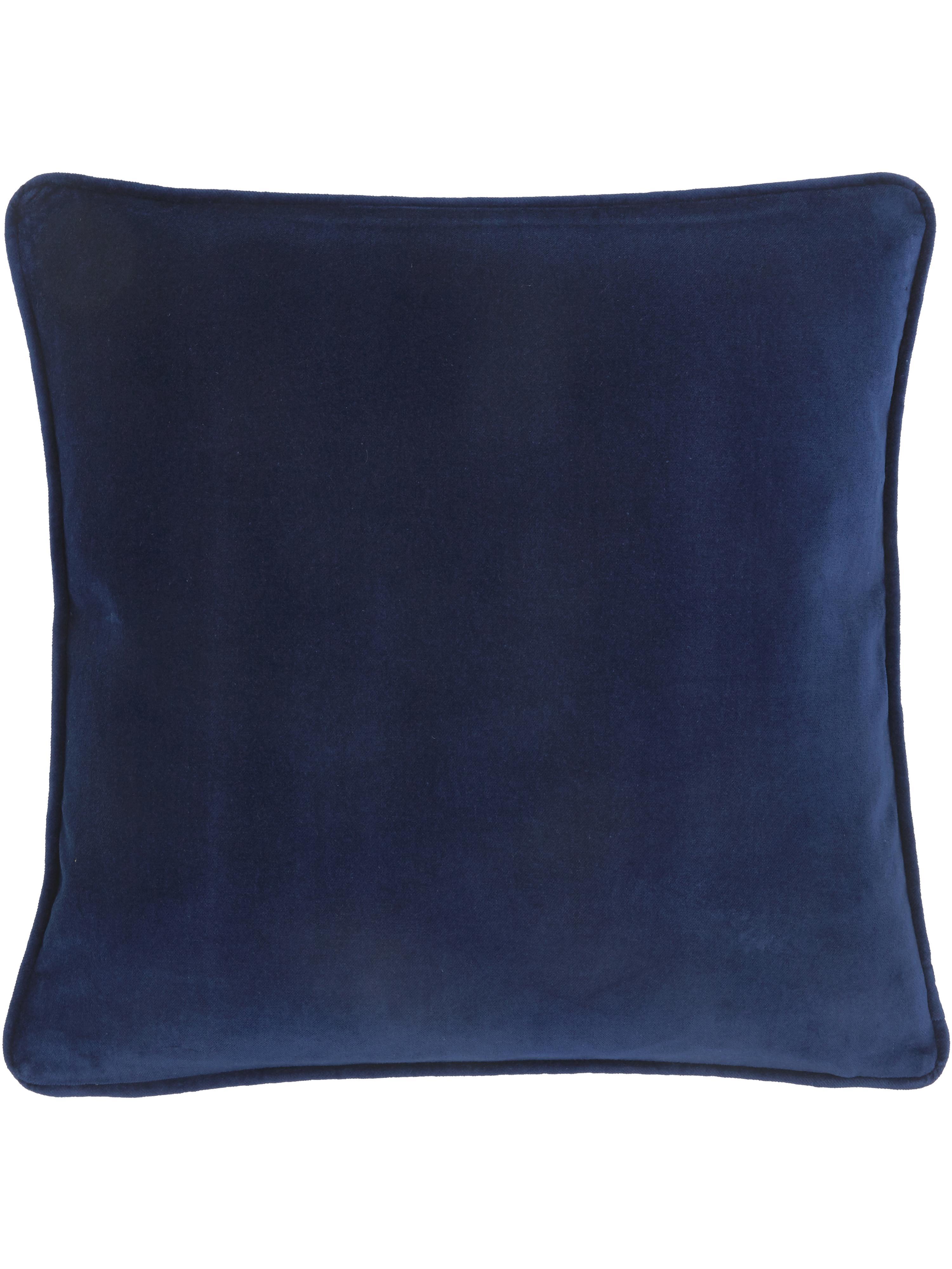 Effen fluwelen kussenhoes Dana in marineblauw, 100% katoenfluweel, Marineblauw, 40 x 40 cm