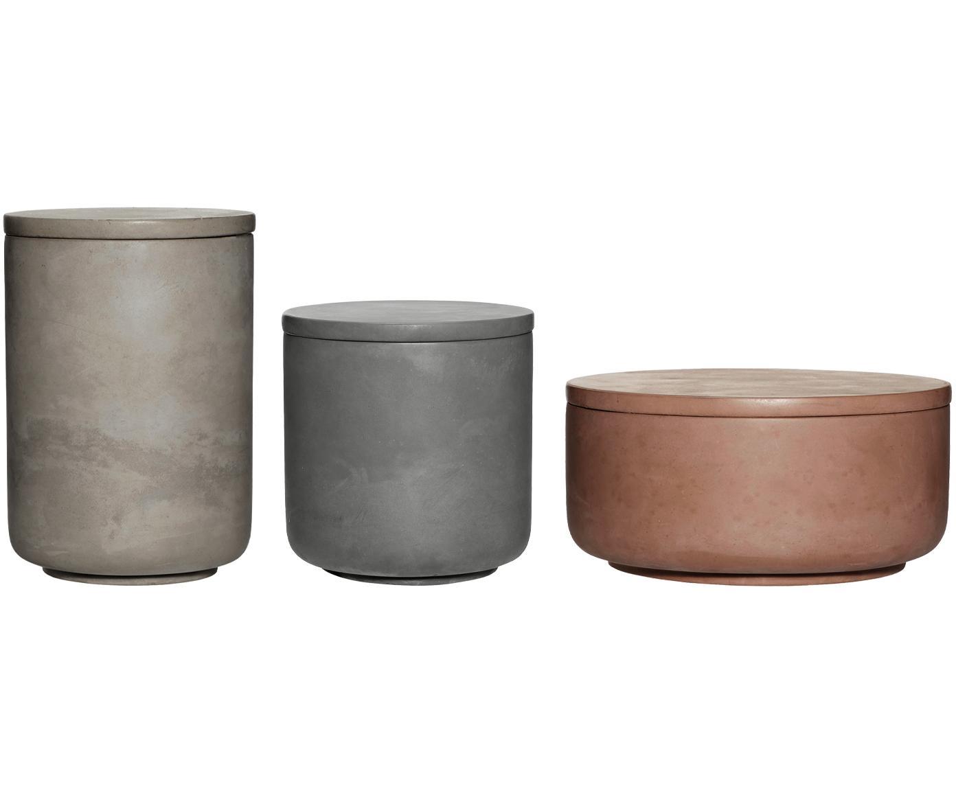 Opbergpotten set Tomoe, 3-delig, Cement, Roze, lichtgrijs, donkergrijs, Verschillende formaten