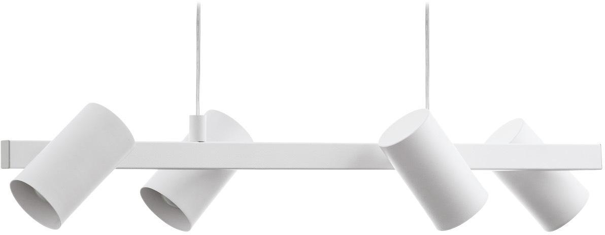 Lampada a sospensione Gatuela, Paralume: metallo verniciato, Baldacchino: metallo verniciato, Bianco, Larg. 76 x Alt. 110 cm