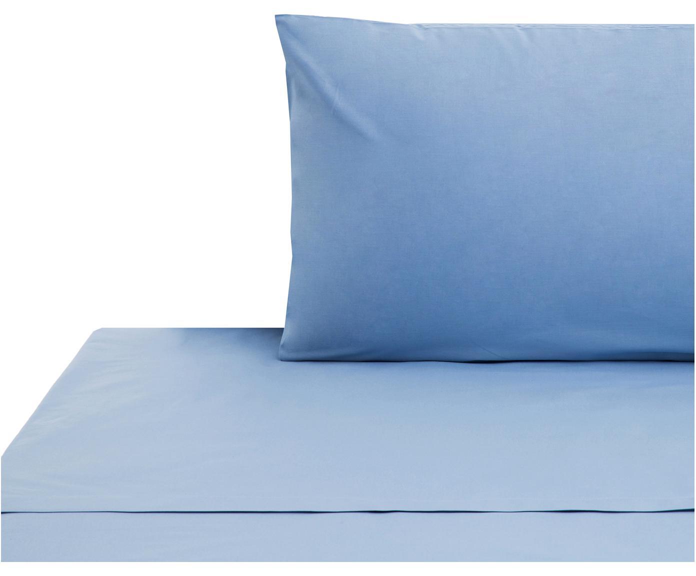 Set lenzuola in cotone ranforce Lenare 2 pz, Tessuto: Renforcé, Fronte e retro: azzurro, 150 x 290 cm