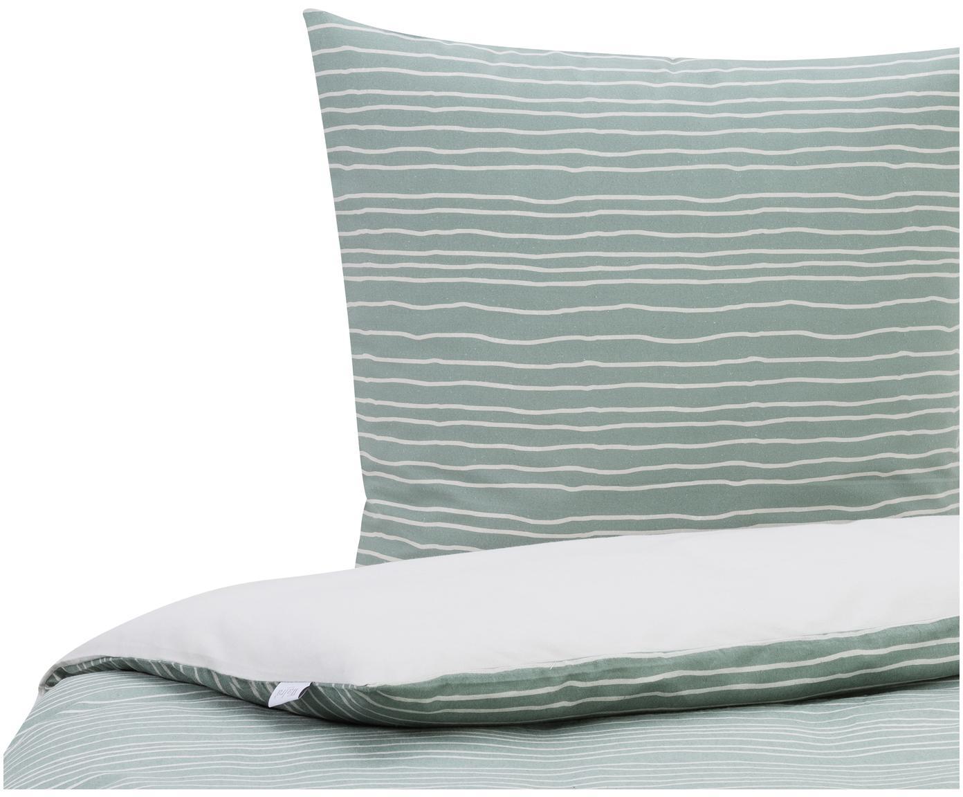 Flanell-Bettwäsche Luton mit Linien, Webart: Flanell Flanell ist ein s, Jadegrün, 135 x 200 cm + 1 Kissen 80 x 80 cm