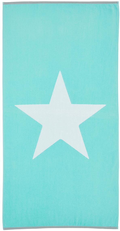 Strandtuch Spork mit Sternen-Motiv, 100% Baumwolle leichte Qualität 380 g/m², Türkis, Weiss, 80 x 160 cm
