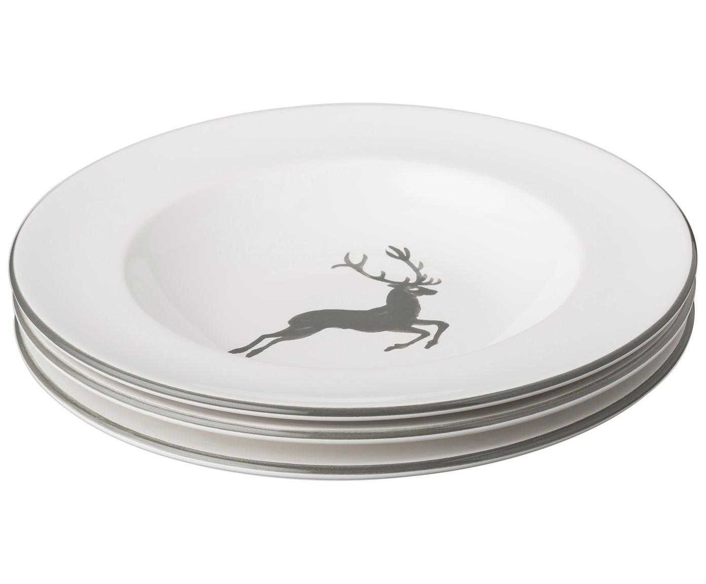 Handbemalter Suppenteller Gourmet Grauer Hirsch, Keramik, Grau,Weiß, Ø 24 cm