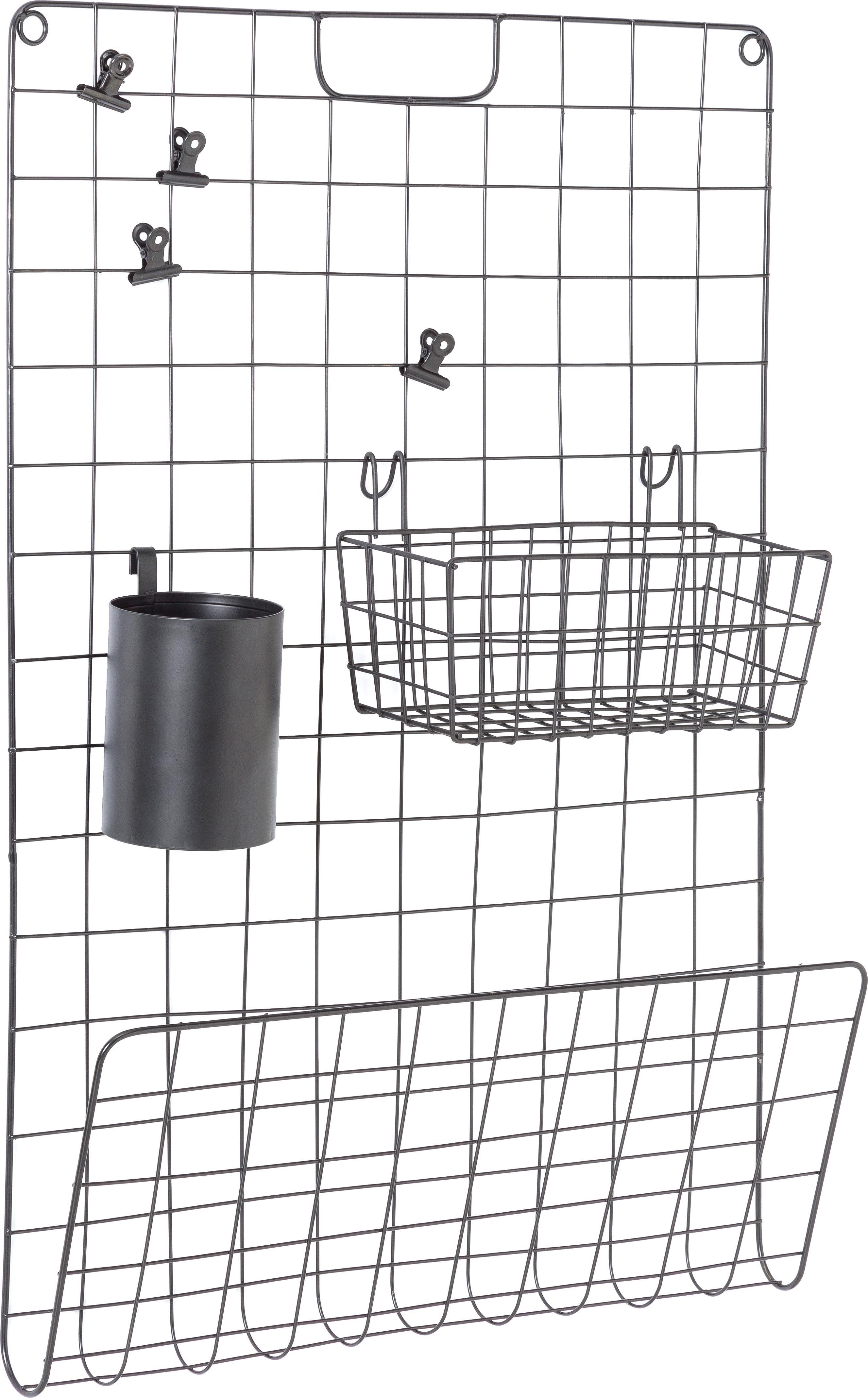 Set tablero de malla Ulf, 7pzas., Metal, pintado, Negro, An 50 x Al 72 cm