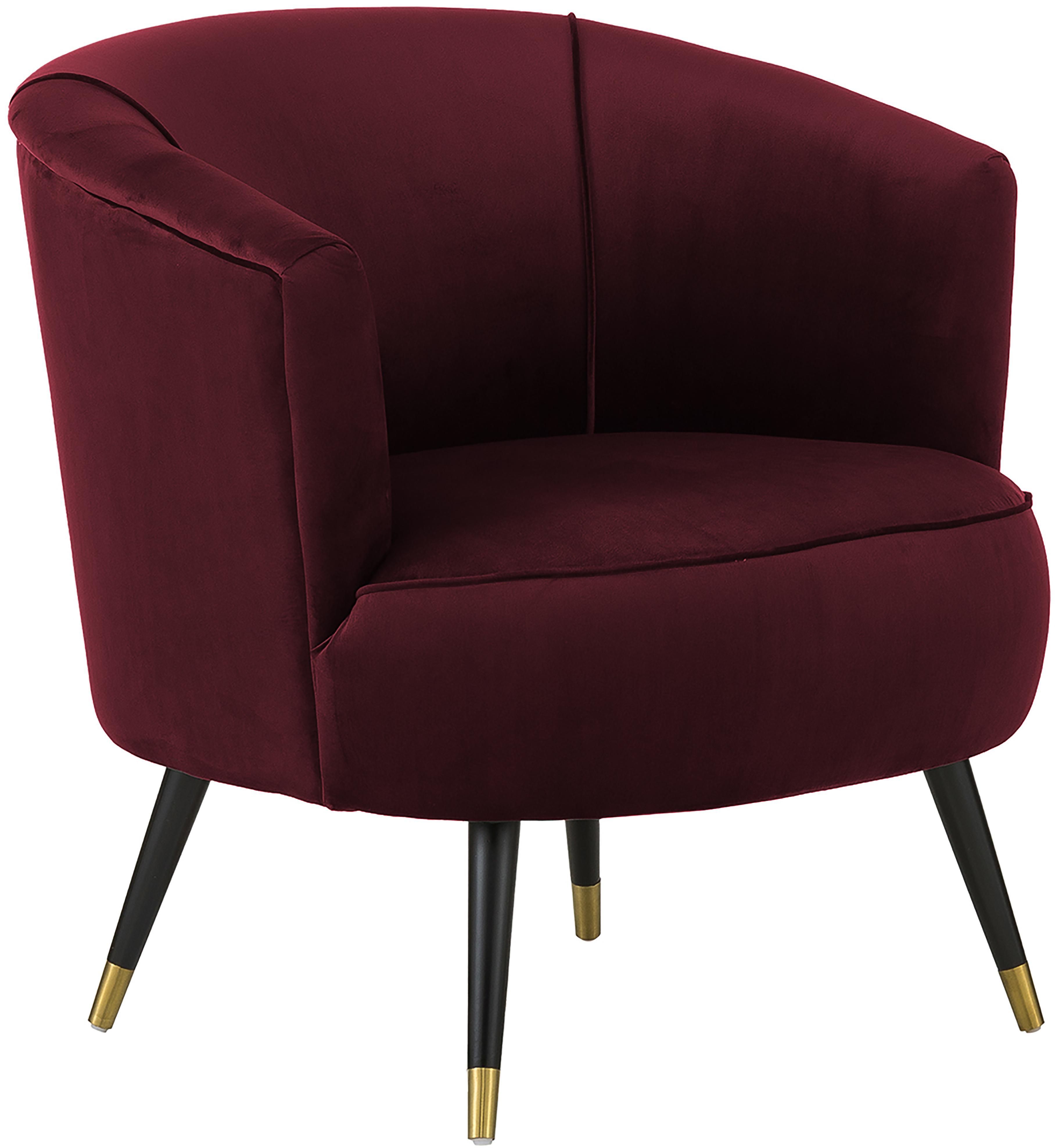 Fluwelen fauteuil Ella, Bekleding: fluweel (polyester), Poten: gelakt metaal, Donkerrood, B 74 x D 78 cm