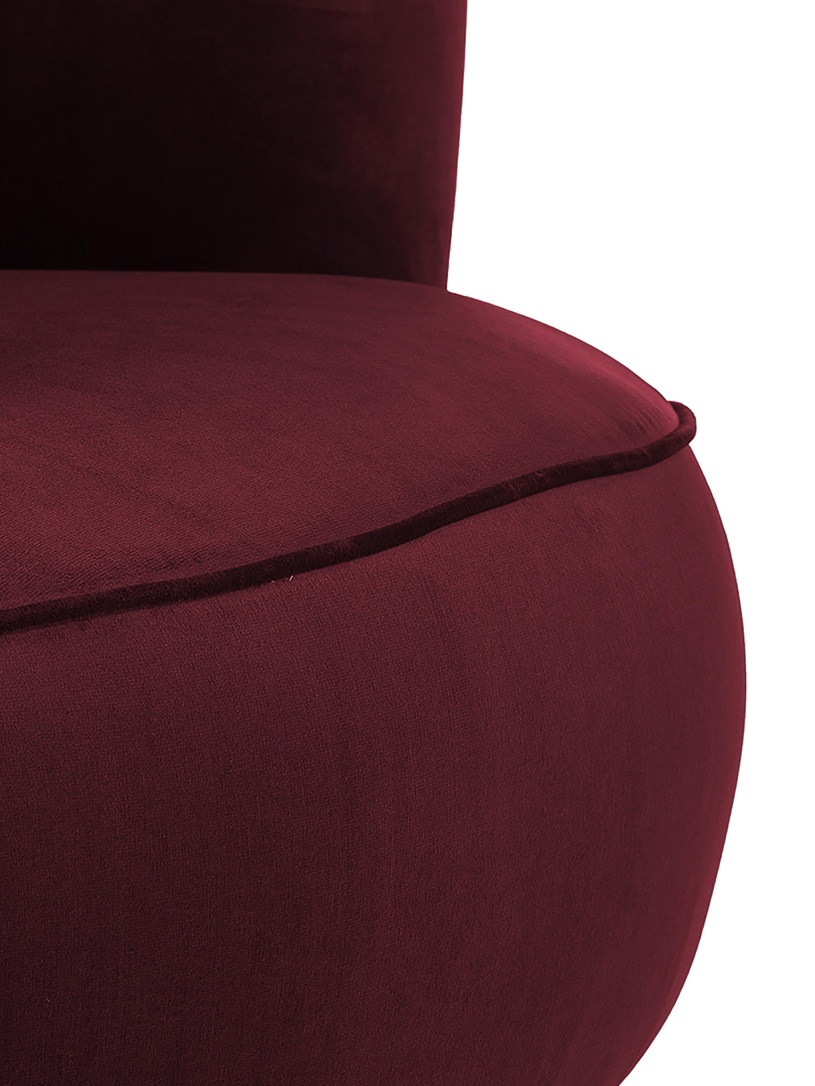 Samt-Cocktailsessel Ella in Rot, Bezug: Samt (Polyester) 50.000 S, Füße: Metall, lackiert, Samt Dunkelrot, B 74 x T 78 cm